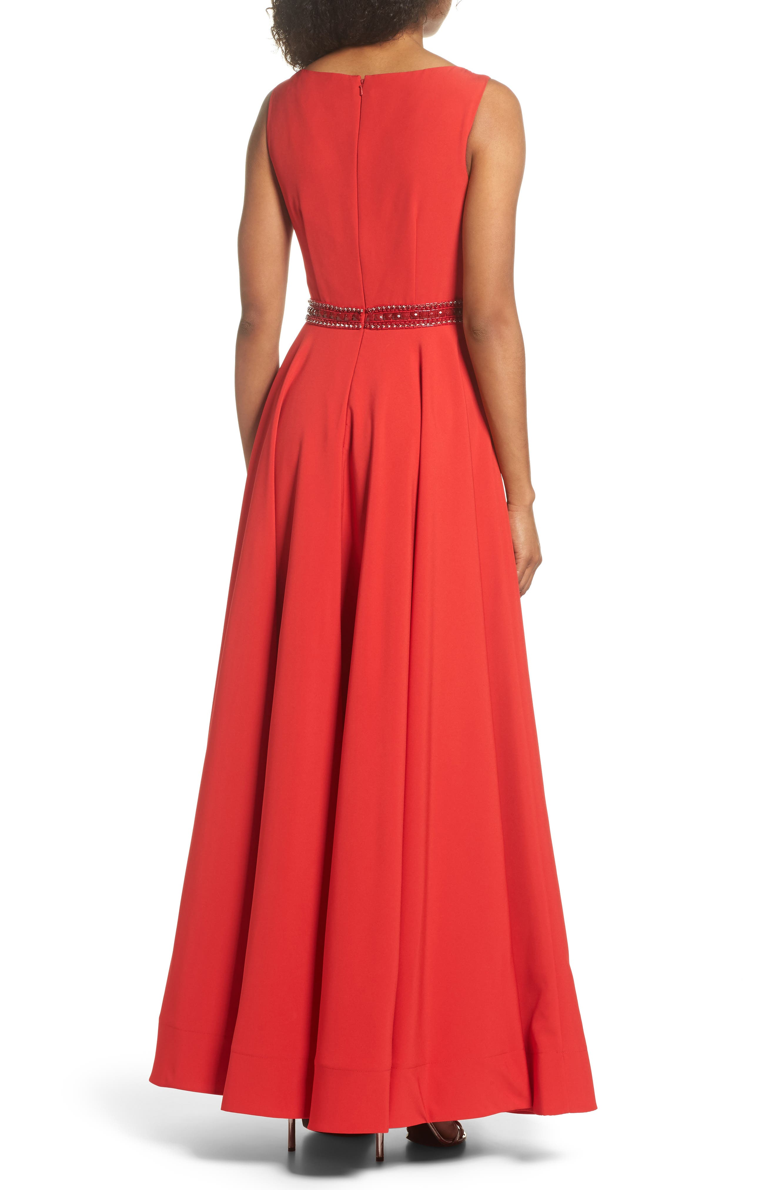 Beaded Waist Gown,                             Alternate thumbnail 2, color,                             Red