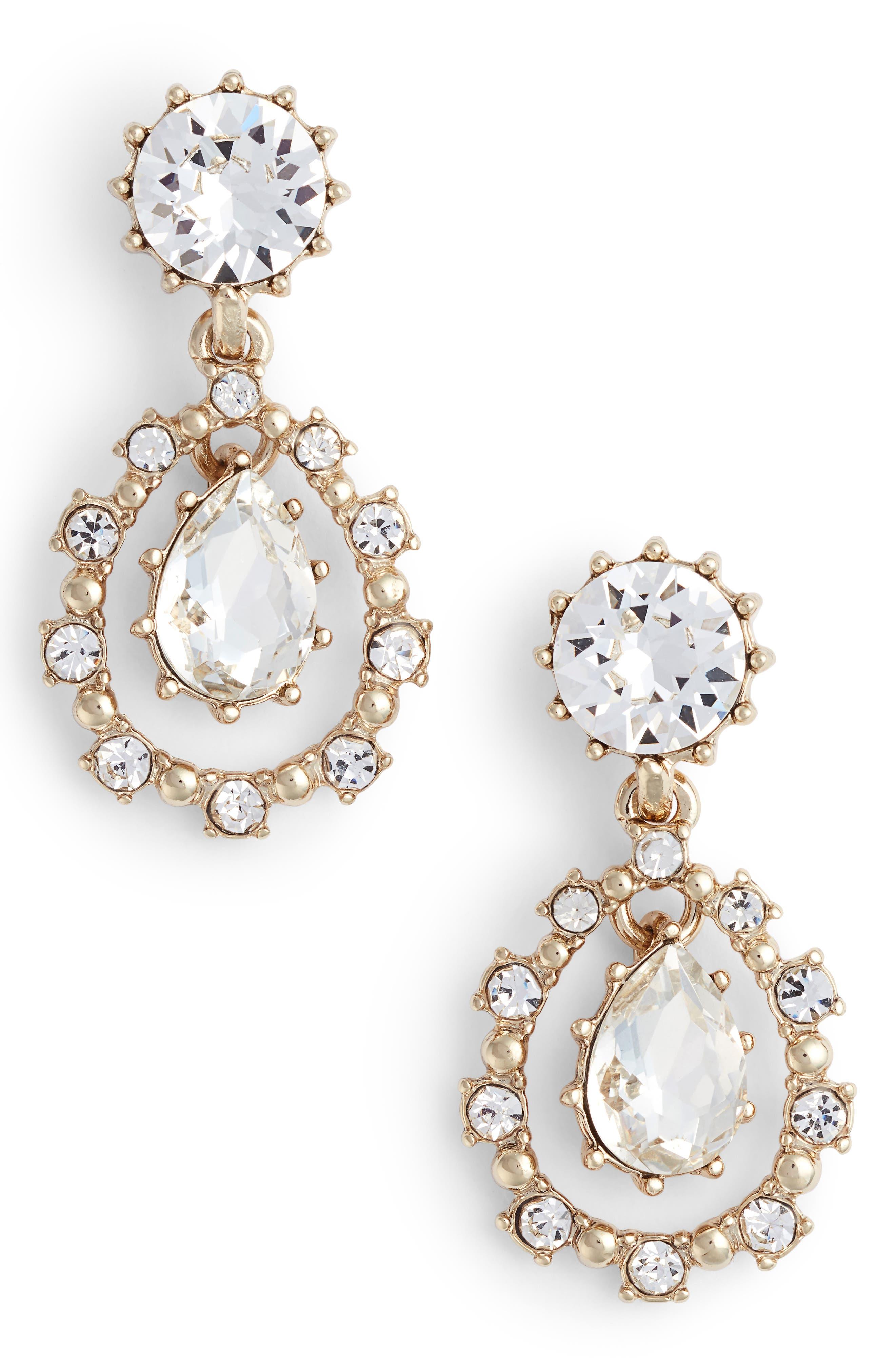 Double Drop Crystal Earrings,                             Main thumbnail 1, color,                             Gold/ Crystal