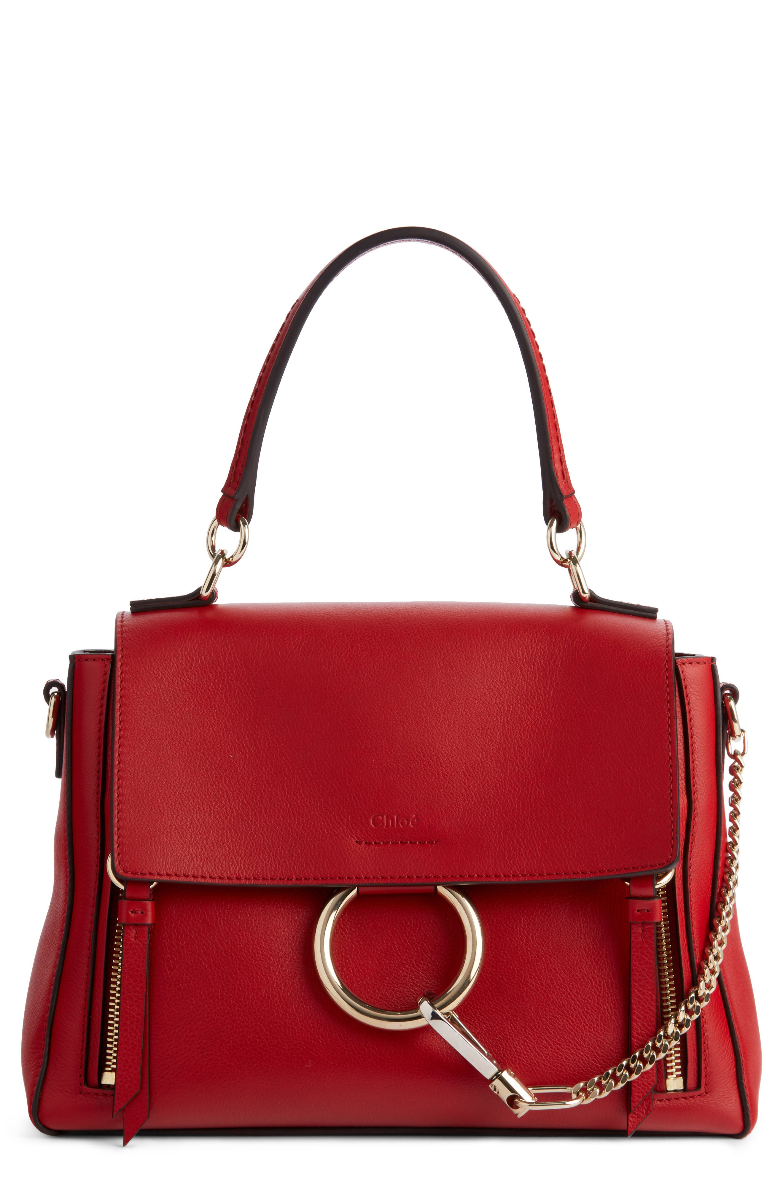 Small Faye Day Leather Shoulder Bag,                         Main,                         color, Dahlia Red