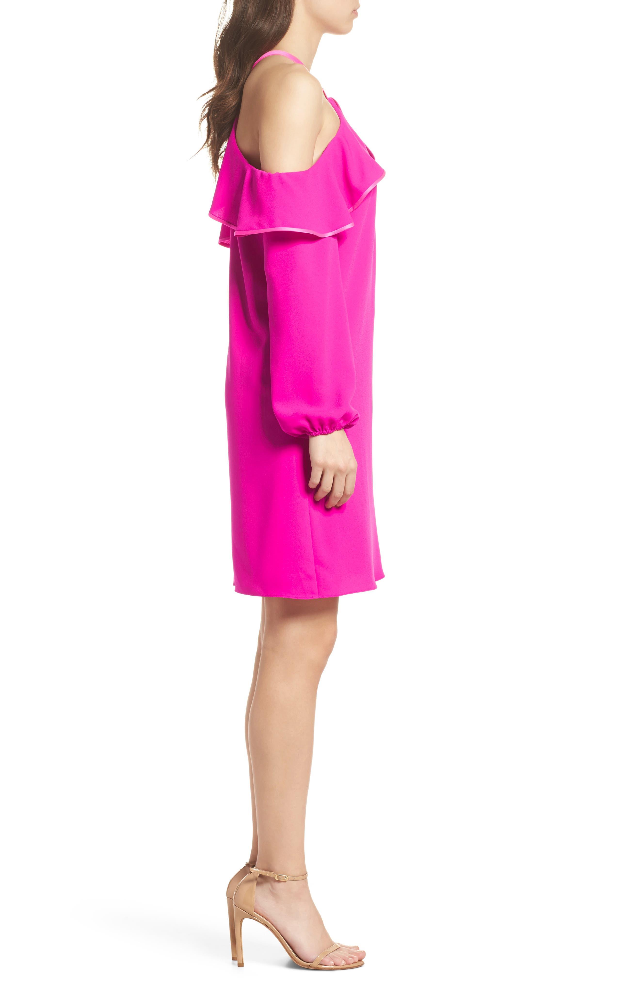 Abrielle Ruffle A-Line Dress,                             Alternate thumbnail 3, color,                             Berry Sangria