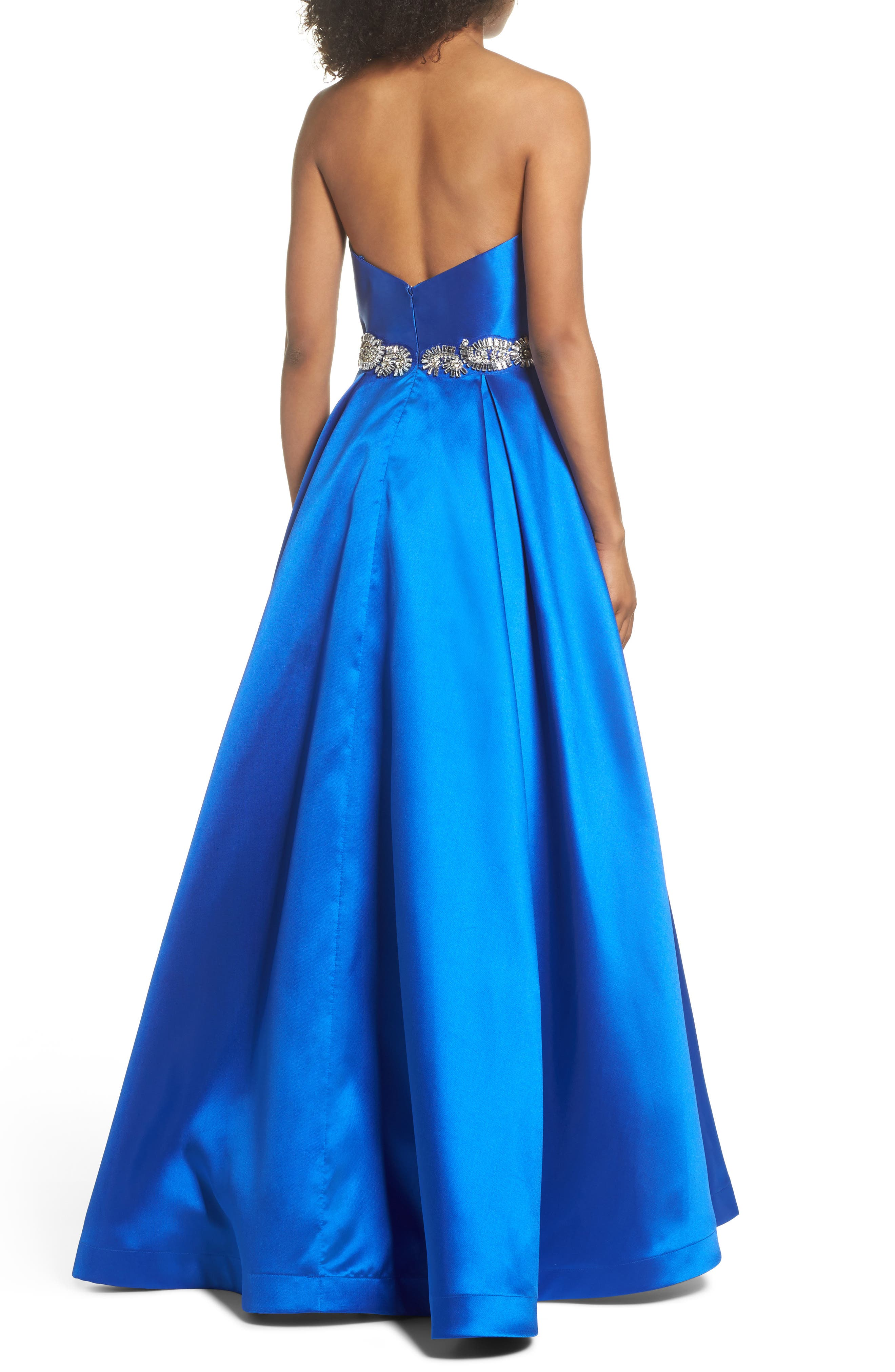 Embellished Strapless Ballgown,                             Alternate thumbnail 2, color,                             Blue