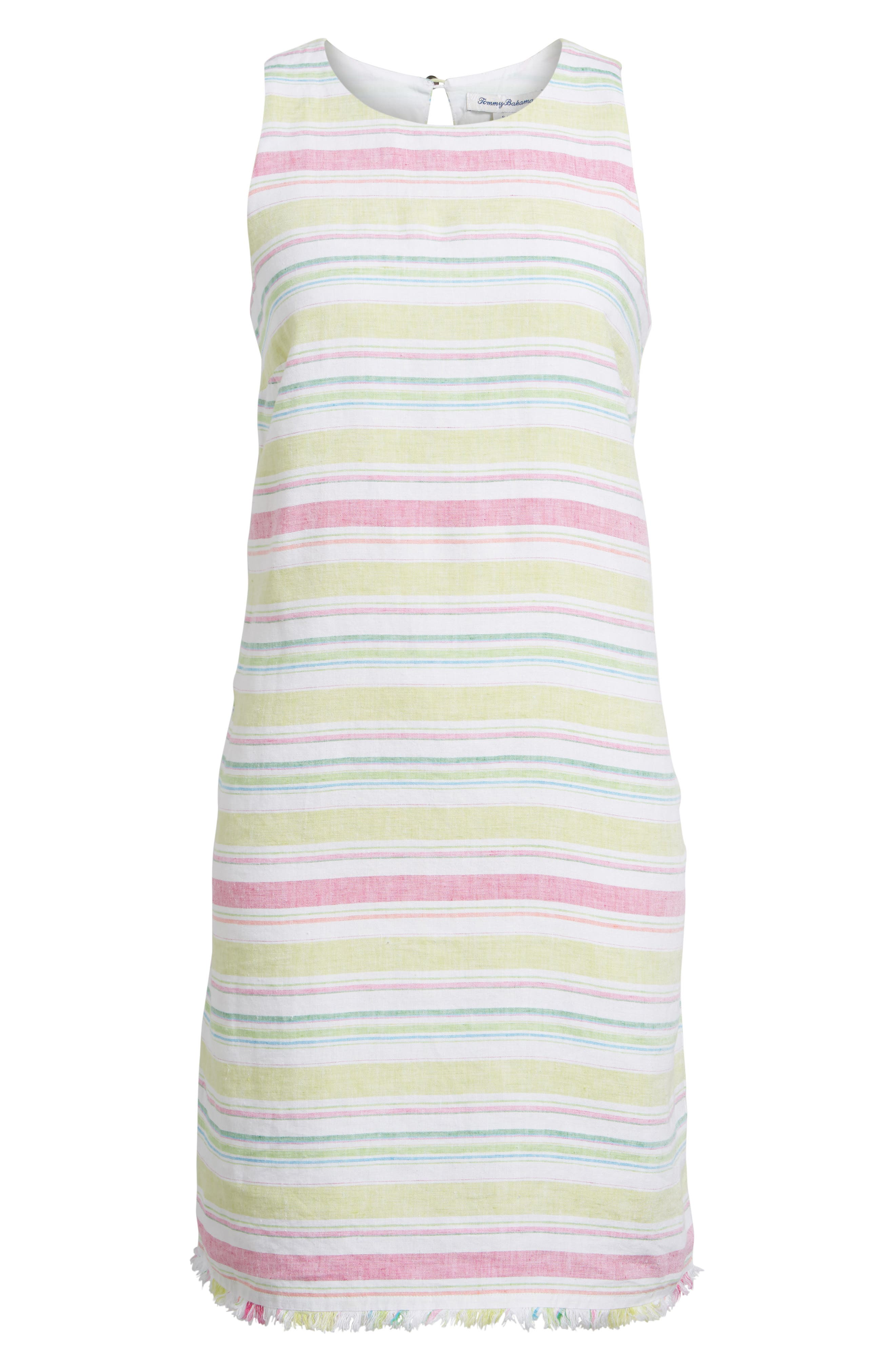 Tulum Stripe Shift Dress,                             Alternate thumbnail 6, color,                             Energy Yellow