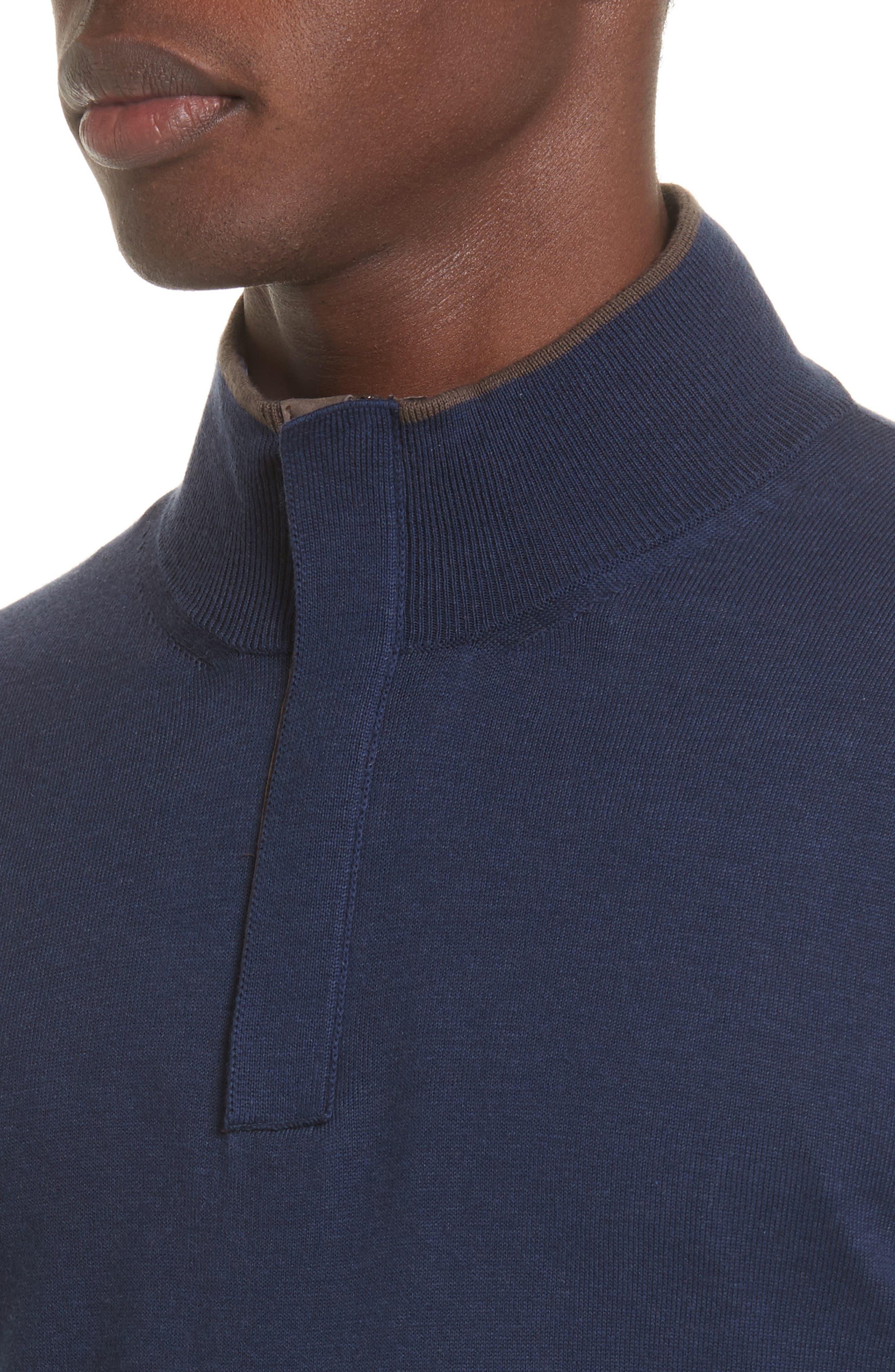 Quarter Zip Sweater,                             Alternate thumbnail 4, color,                             Dark Blue