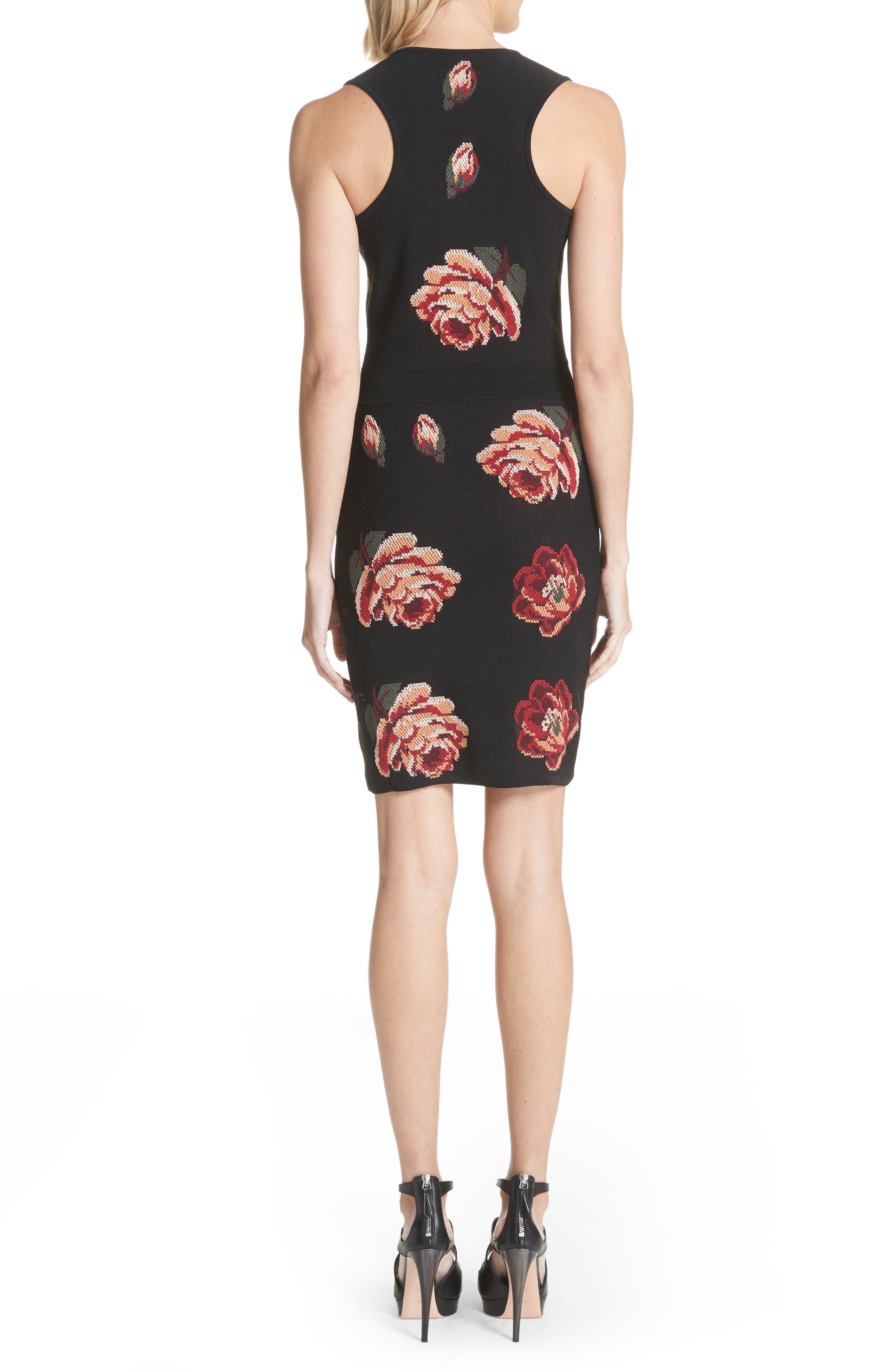 Intarsia Floral Print Dress,                             Alternate thumbnail 2, color,                             Black/ Red/ Green