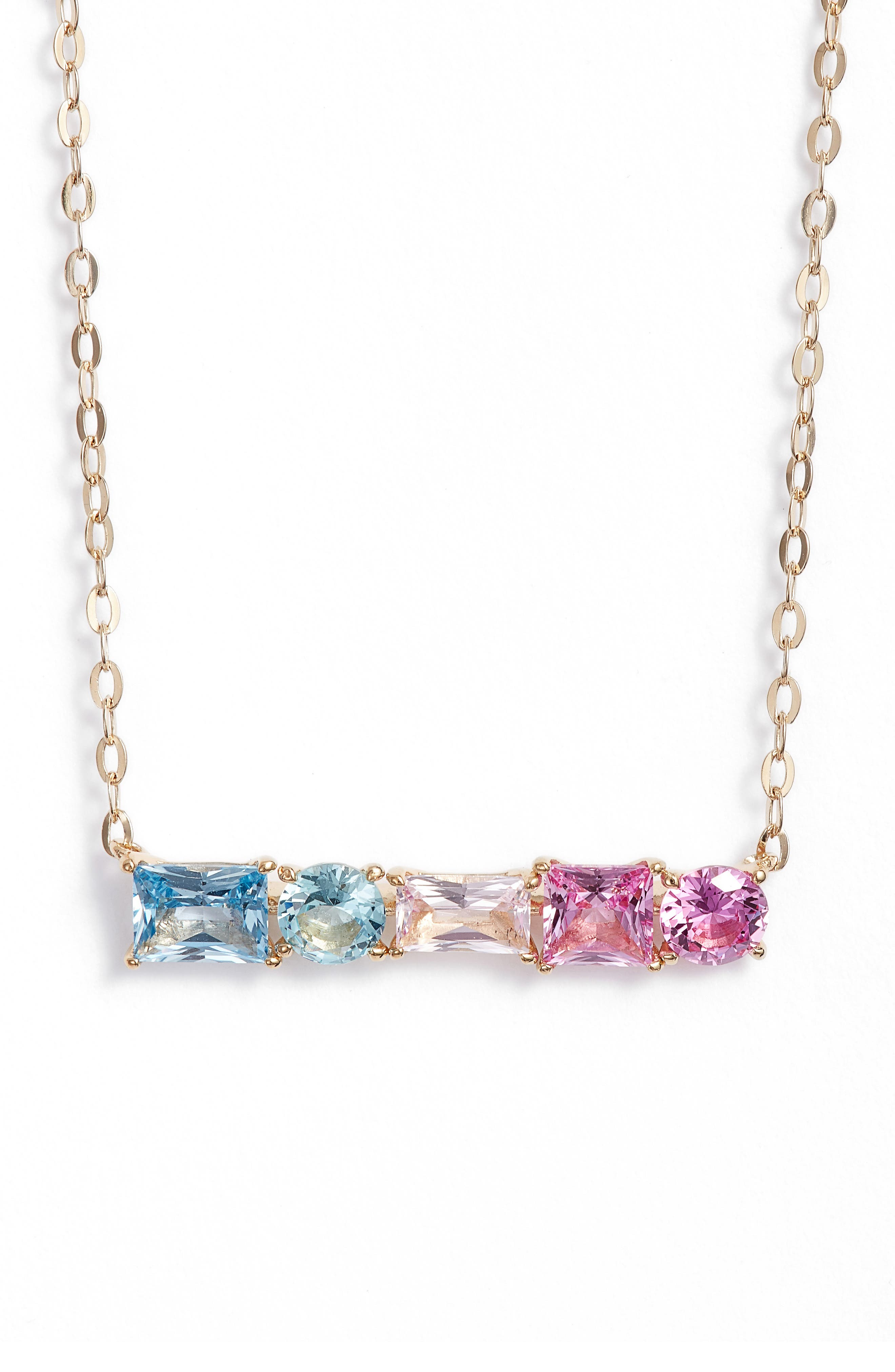 Crystal Bar Pendant Necklace,                         Main,                         color, Gold