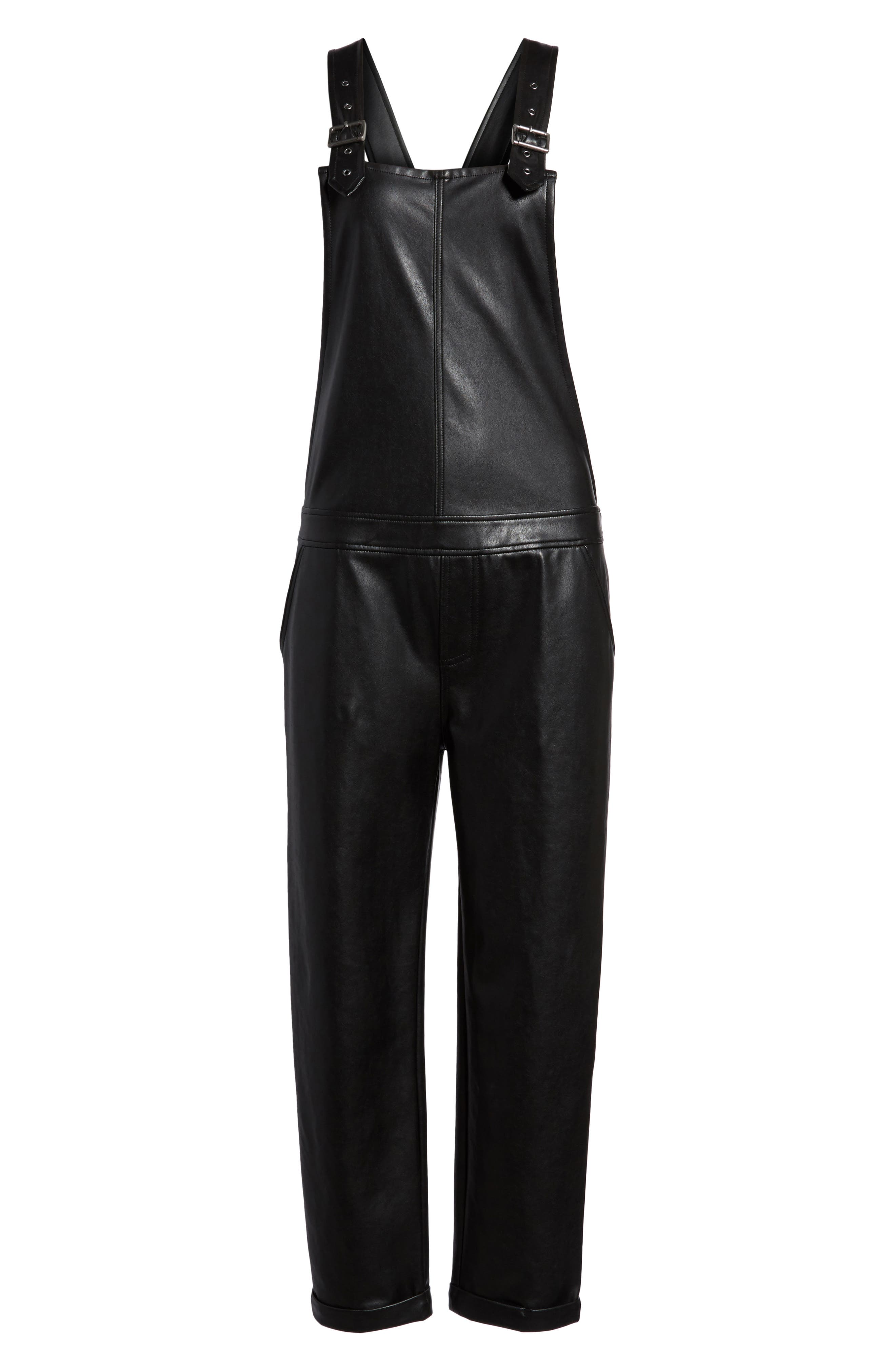 Faux Leather Overalls,                             Alternate thumbnail 6, color,                             Black