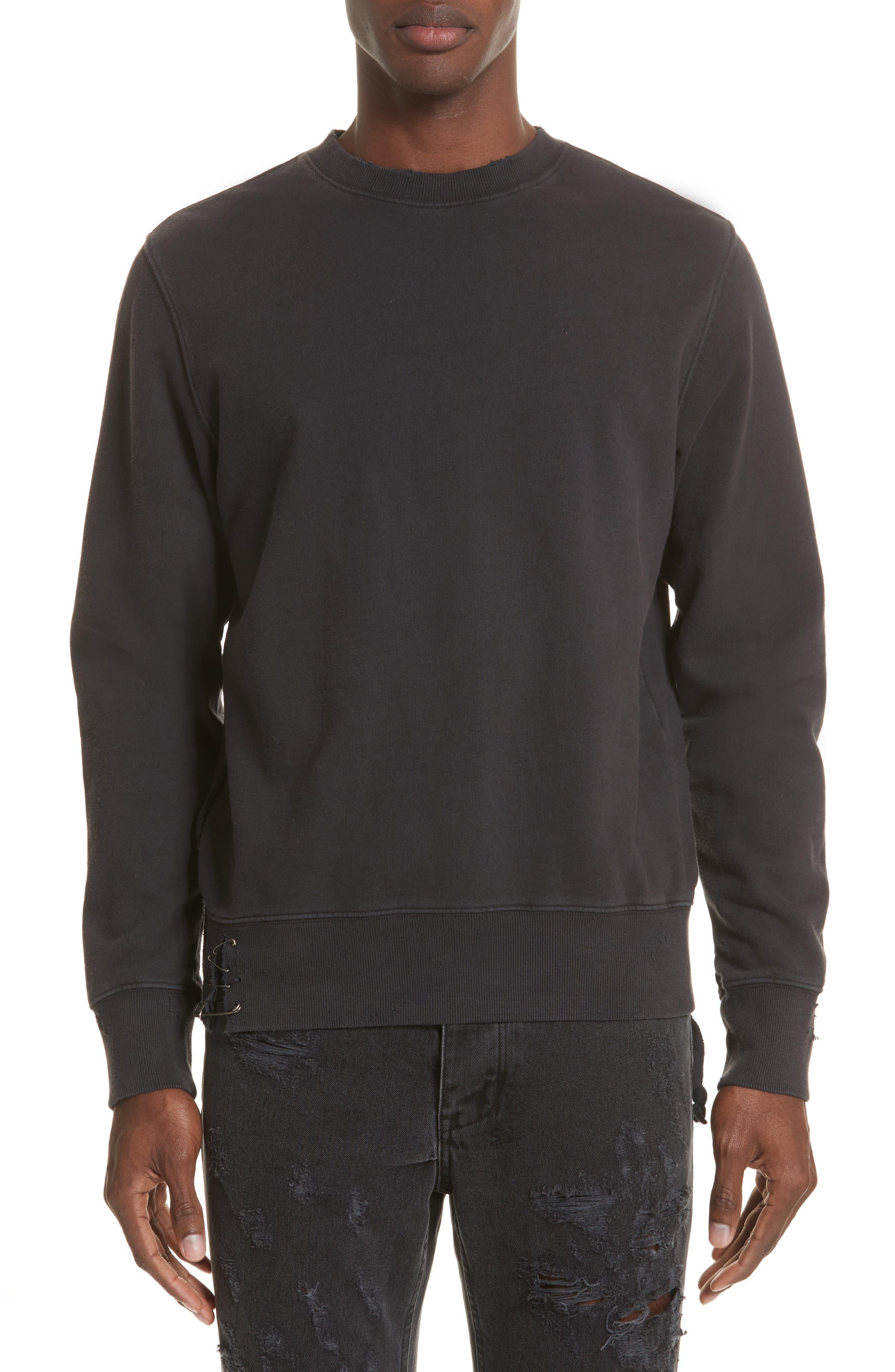 Pins Distressed Sweatshirt,                             Main thumbnail 1, color,                             Black