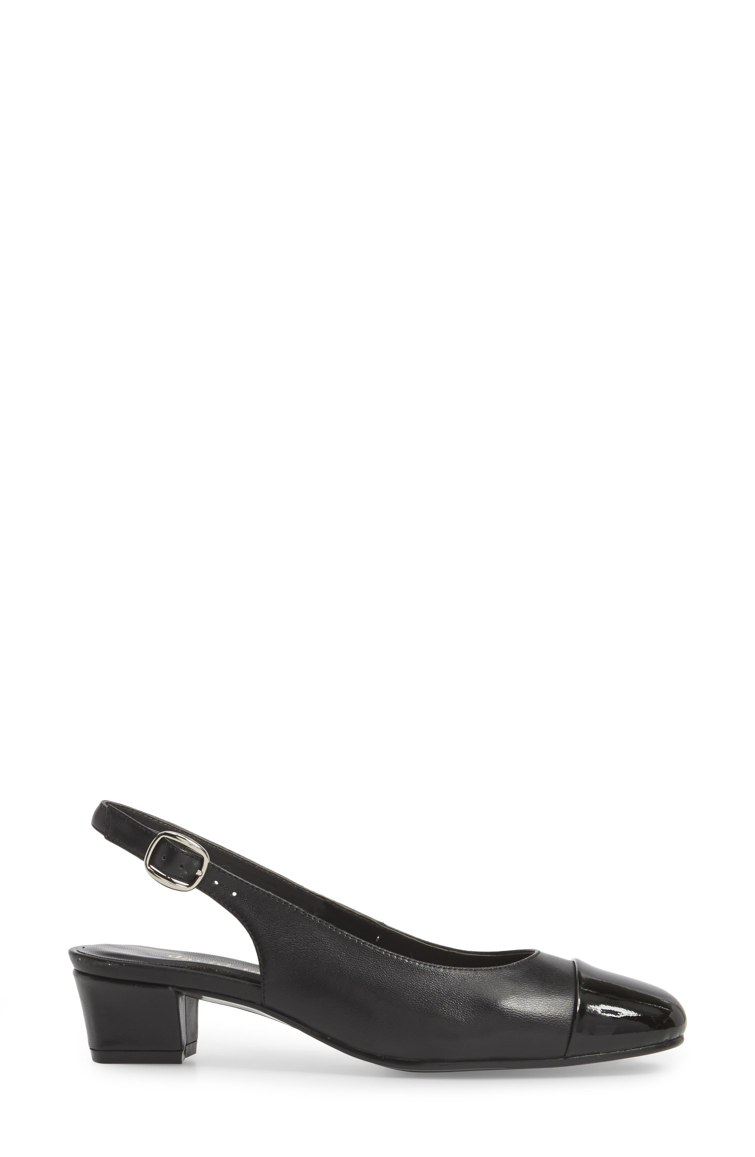 Glorious Slingback Pump,                             Alternate thumbnail 3, color,                             Black Leather