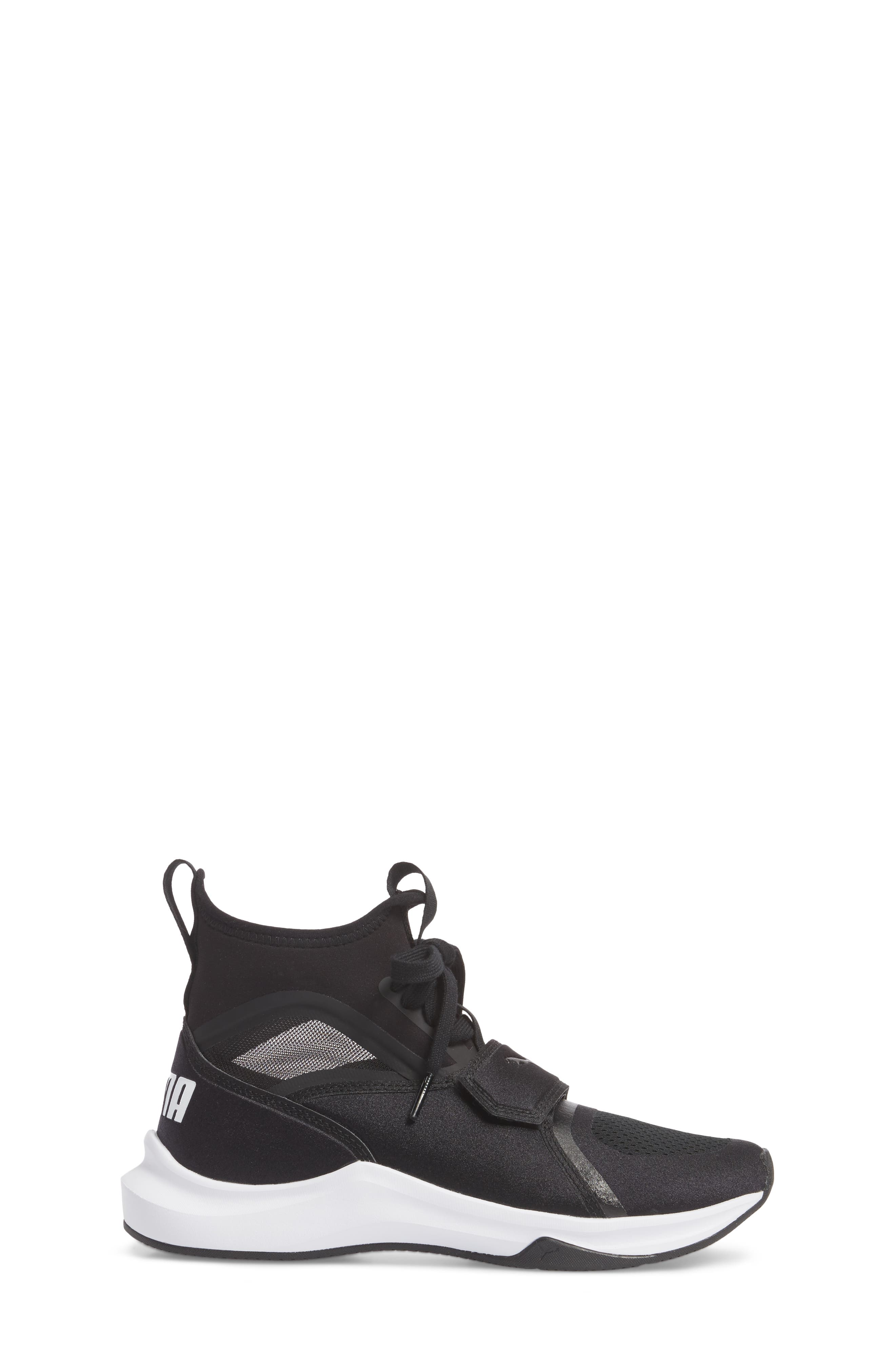 Phenom Jr High Top Sneaker,                             Alternate thumbnail 3, color,                             Puma Black/ Puma White