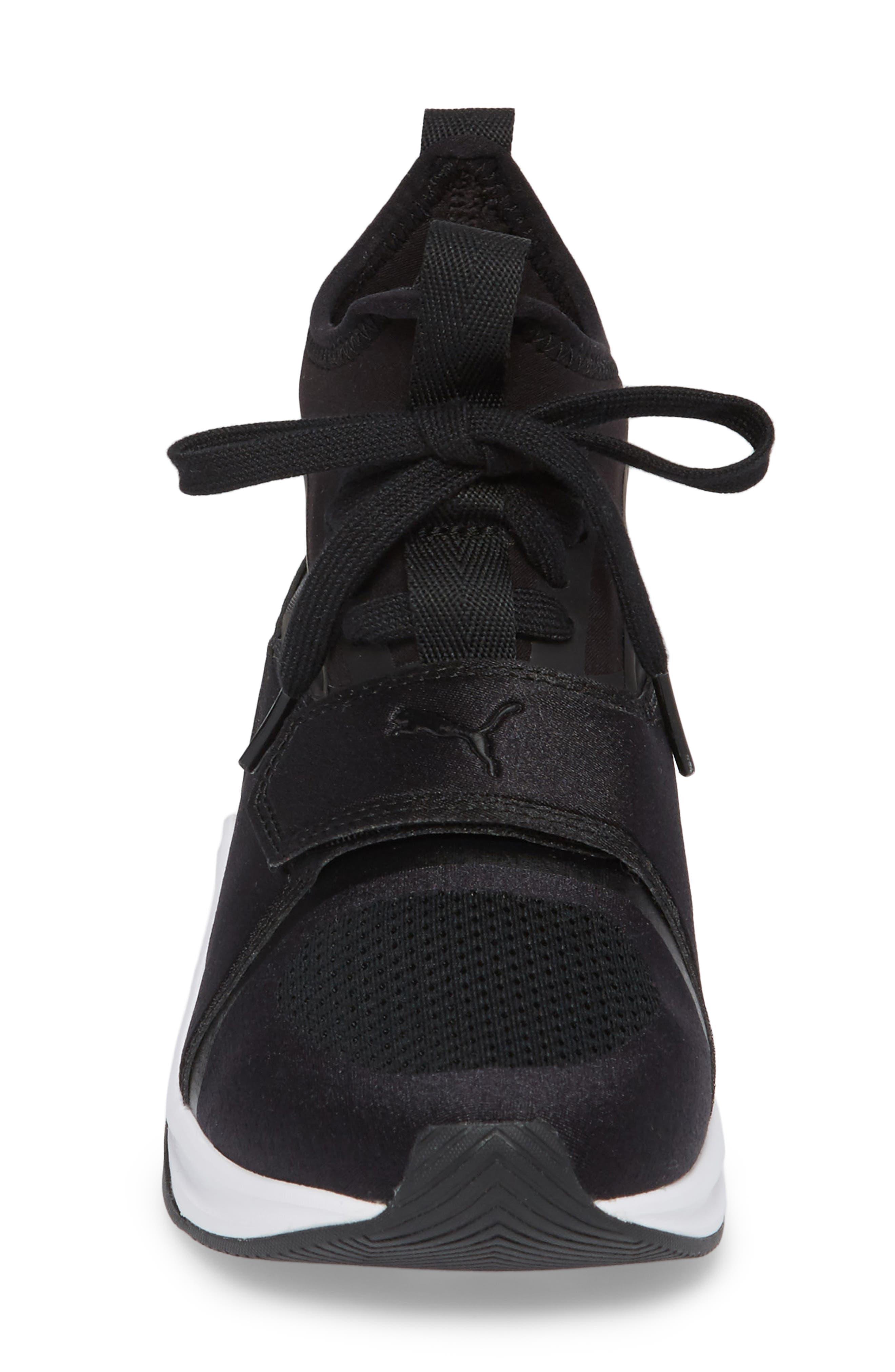 Phenom Jr High Top Sneaker,                             Alternate thumbnail 4, color,                             Puma Black/ Puma White
