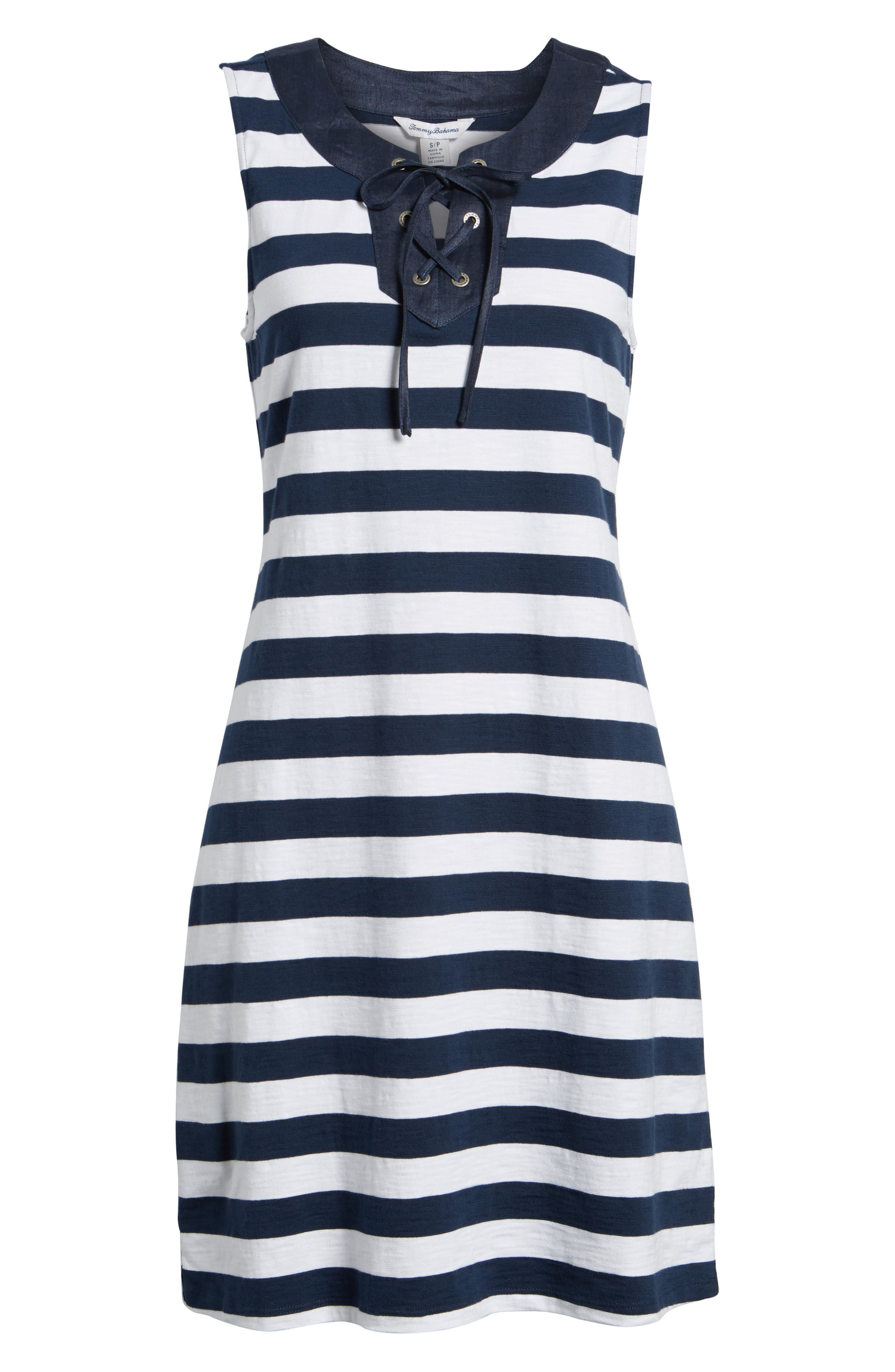 Stripe Right Lace-Up Stretch Cotton Dress,                             Alternate thumbnail 6, color,                             Ocean Deep