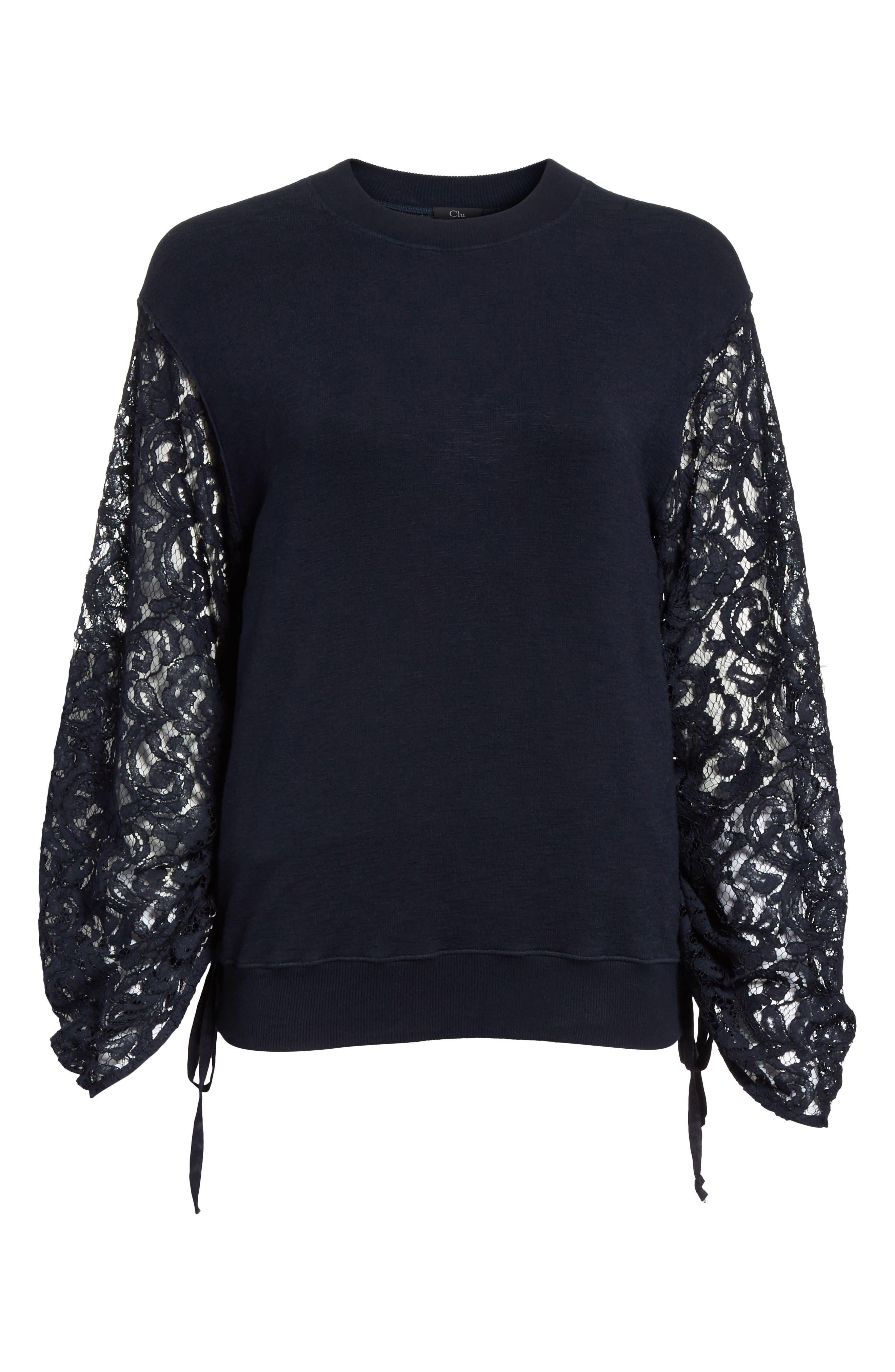 Lace Sleeve Sweatshirt,                             Alternate thumbnail 6, color,                             Navy