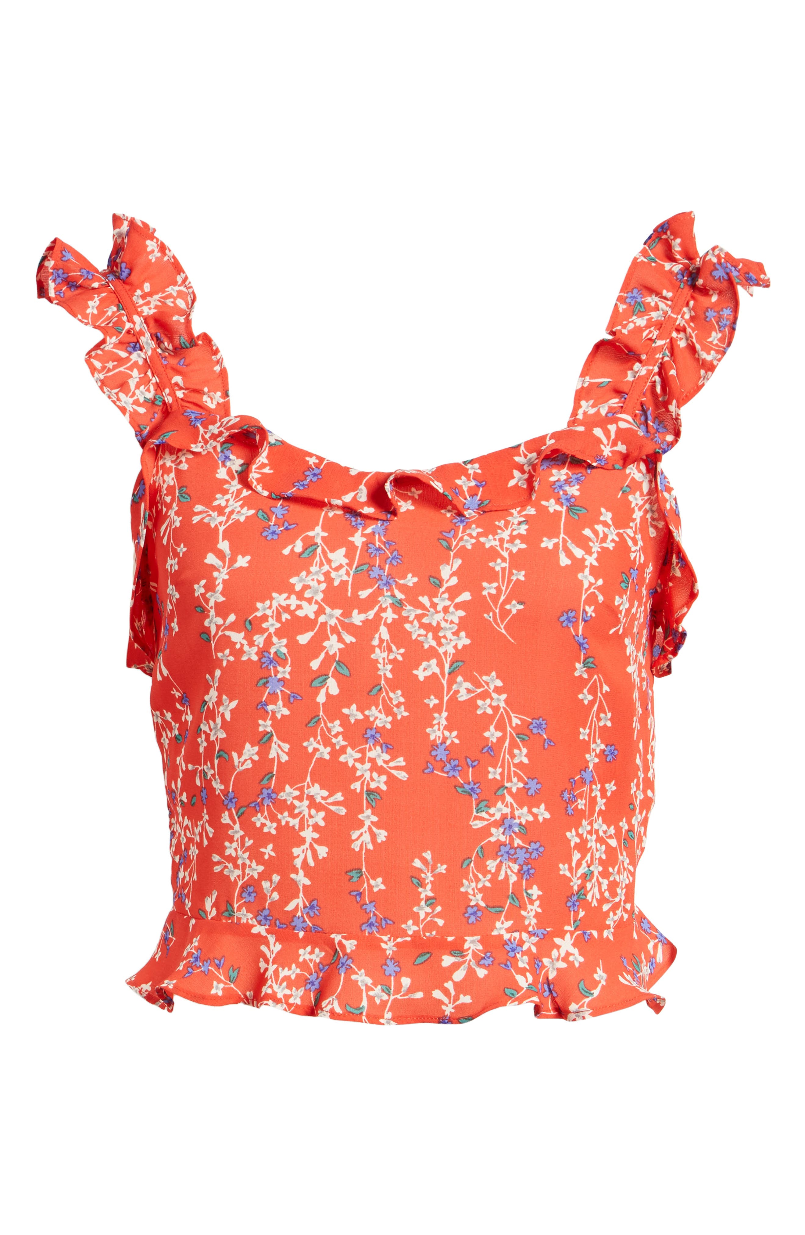 Floral Ruffle Crop Top,                             Alternate thumbnail 8, color,                             Red Floral