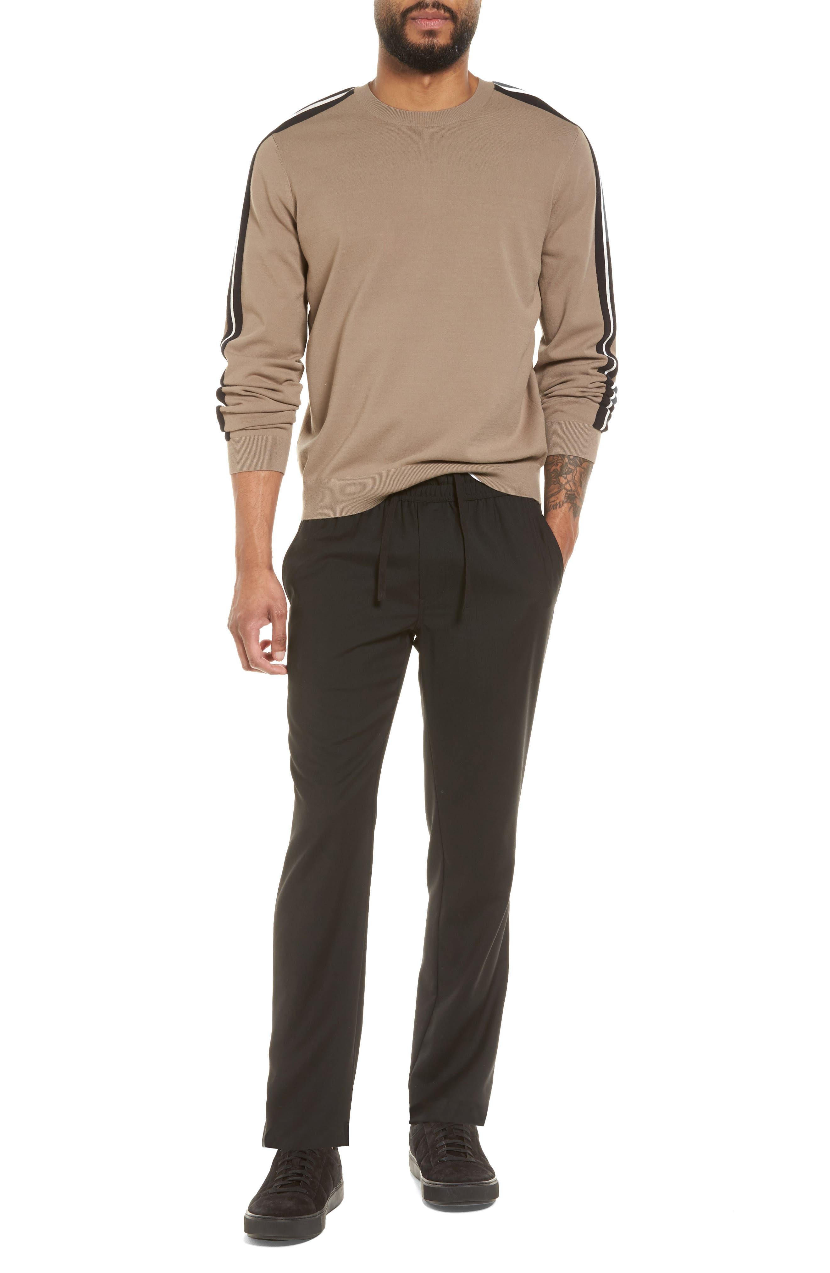 Track Stripe Crewneck Sweater,                             Alternate thumbnail 6, color,                             Pebble Taupe