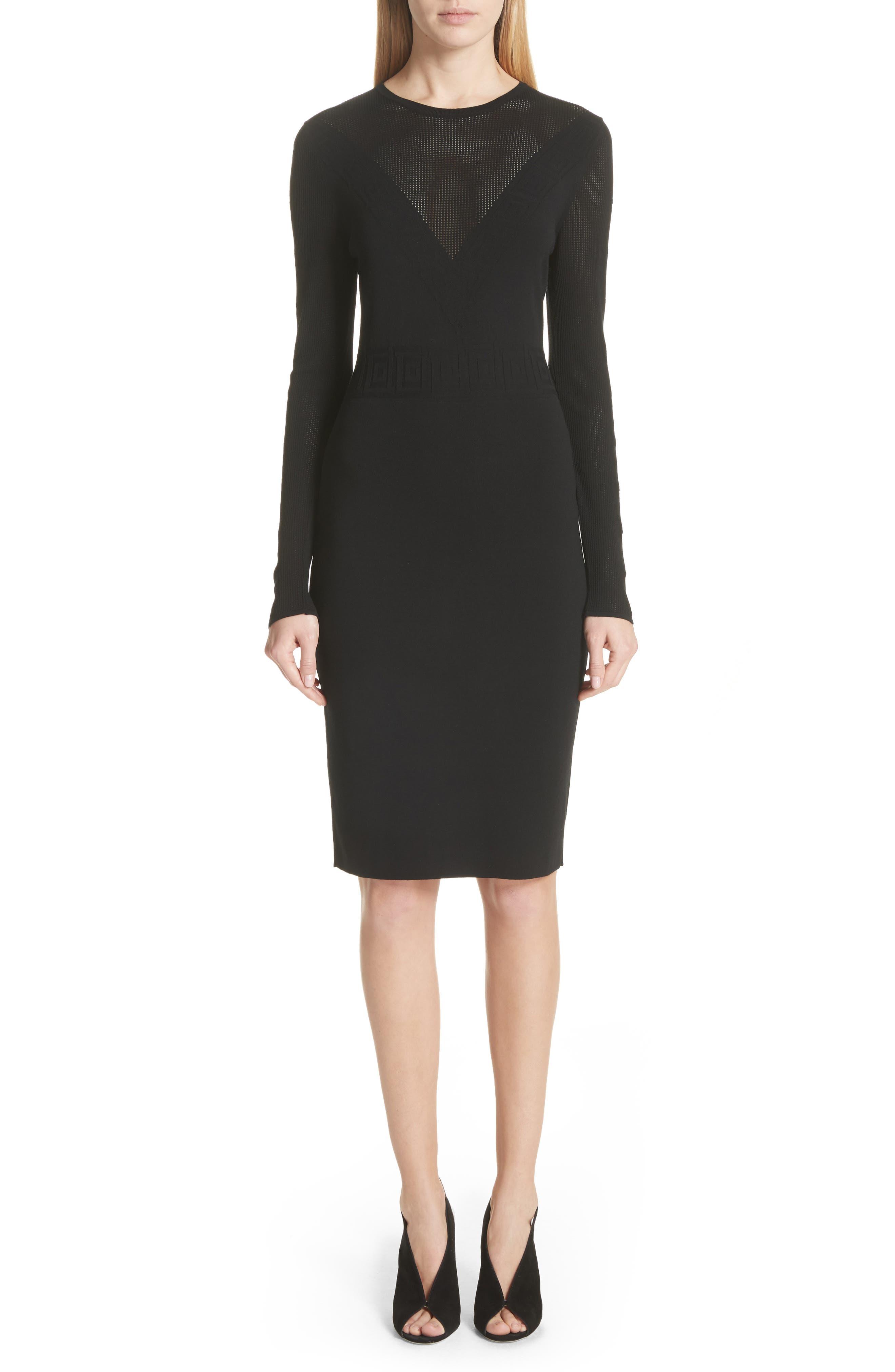 Sheer Detail Knit Dress,                             Main thumbnail 1, color,                             Black