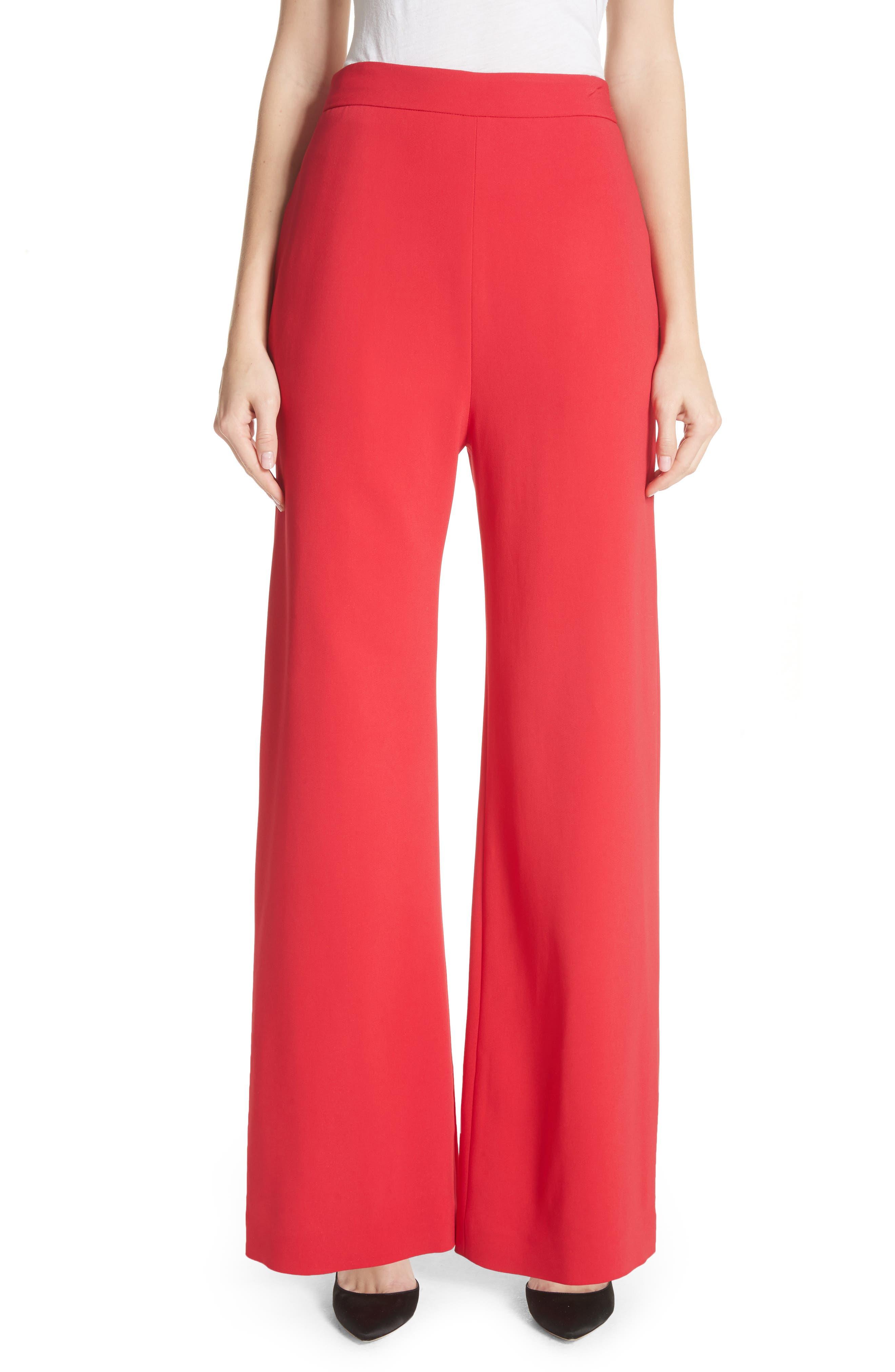 Wide Leg Crepe Pants,                         Main,                         color, Red