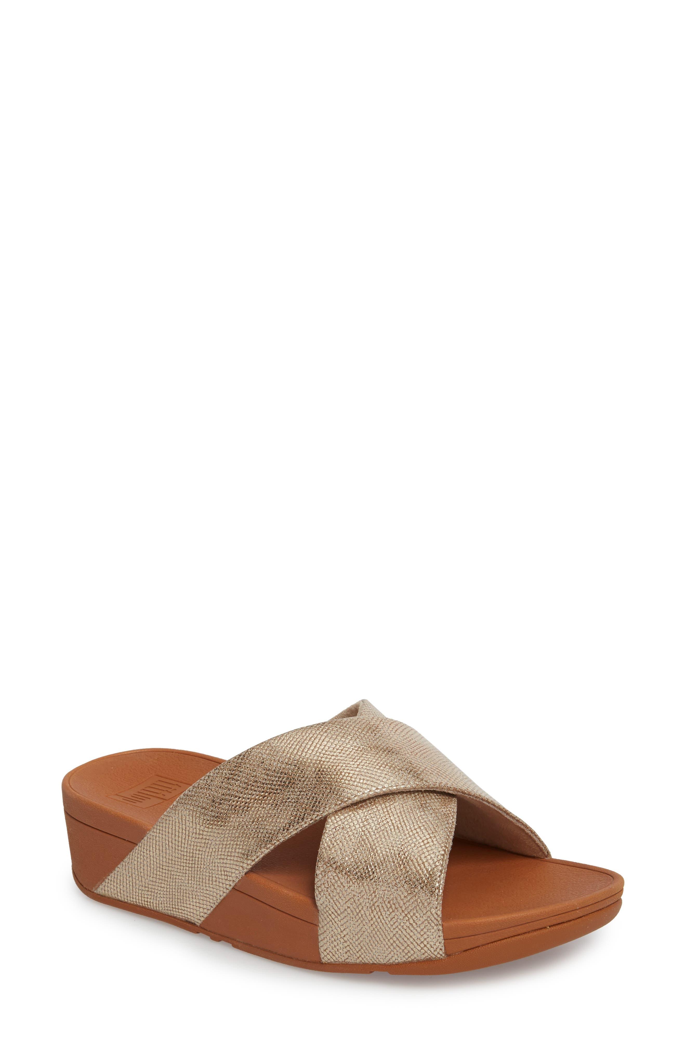 Lulu Cross Slide Sandal,                             Main thumbnail 1, color,                             Gold Shimmer Print