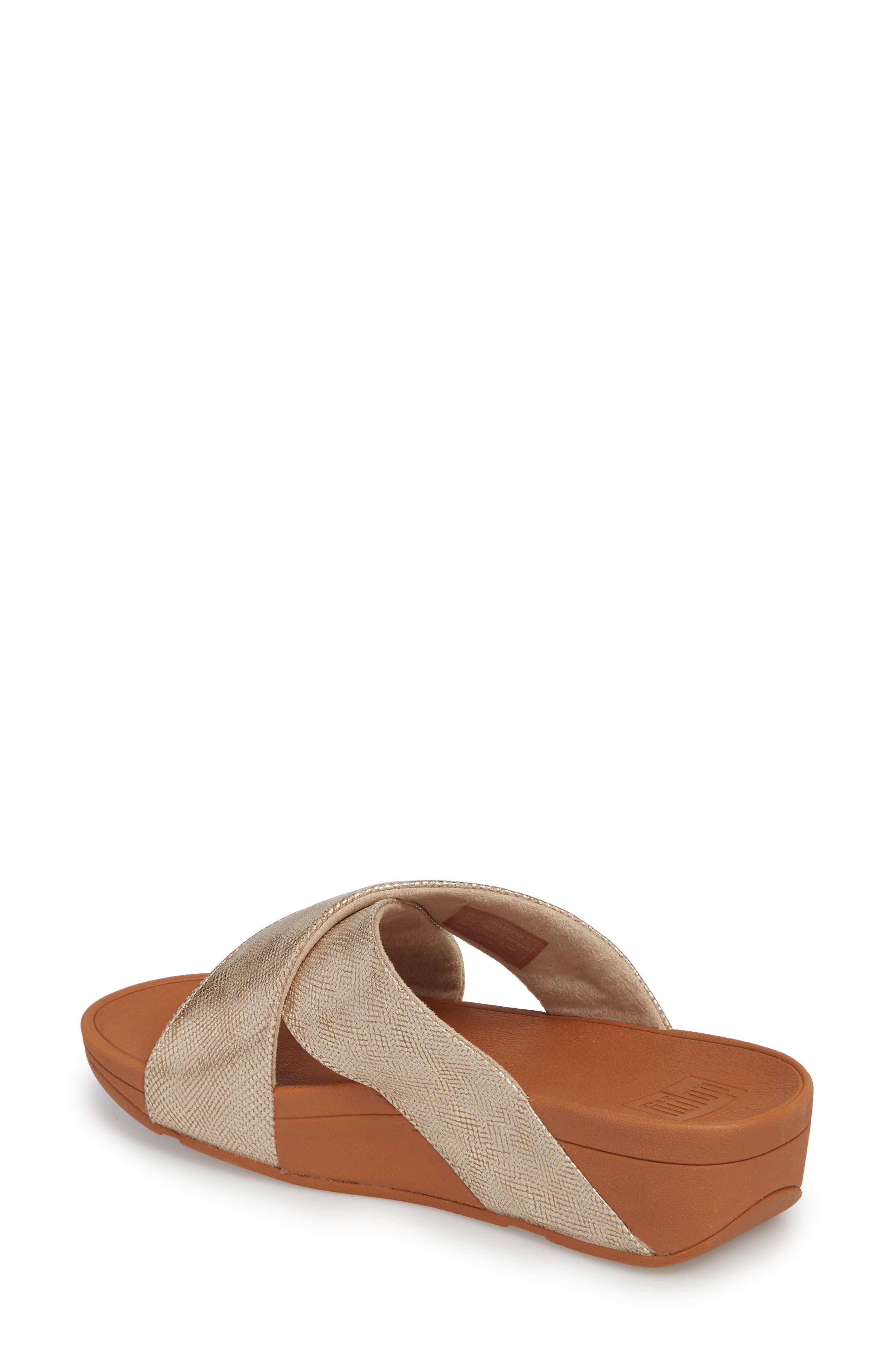 Lulu Cross Slide Sandal,                             Alternate thumbnail 2, color,                             Gold Shimmer Print