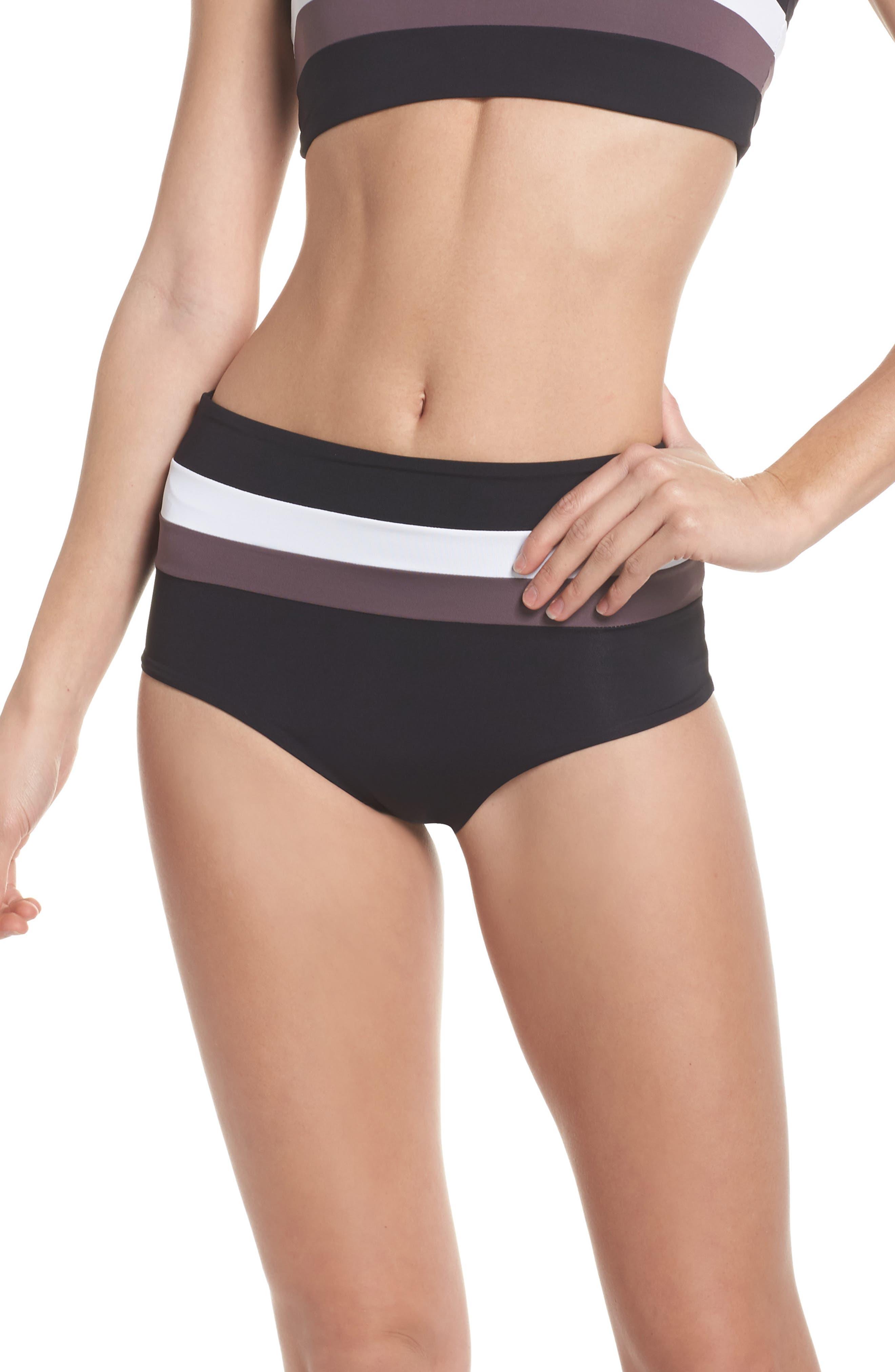 Portia Reversible Colorblock Bikini Bottoms,                             Main thumbnail 1, color,                             Black
