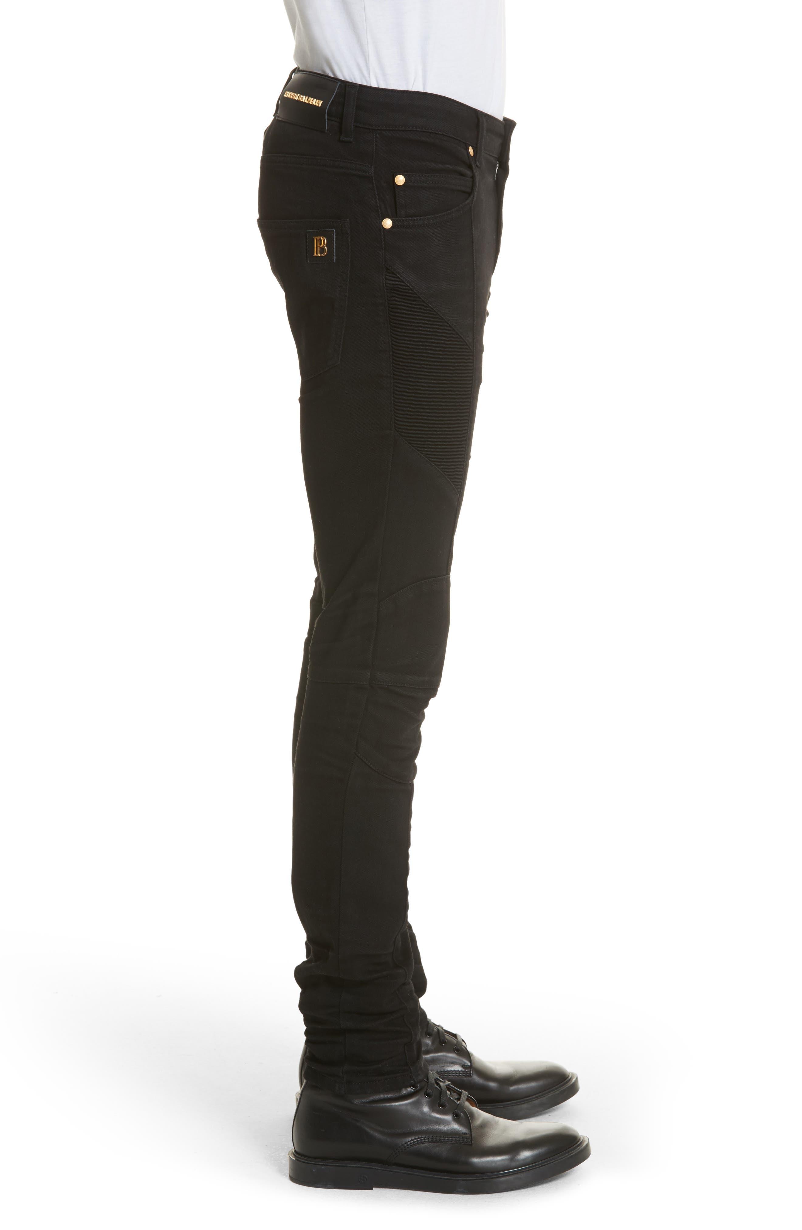 Moto Jeans,                             Alternate thumbnail 3, color,                             Black Denim