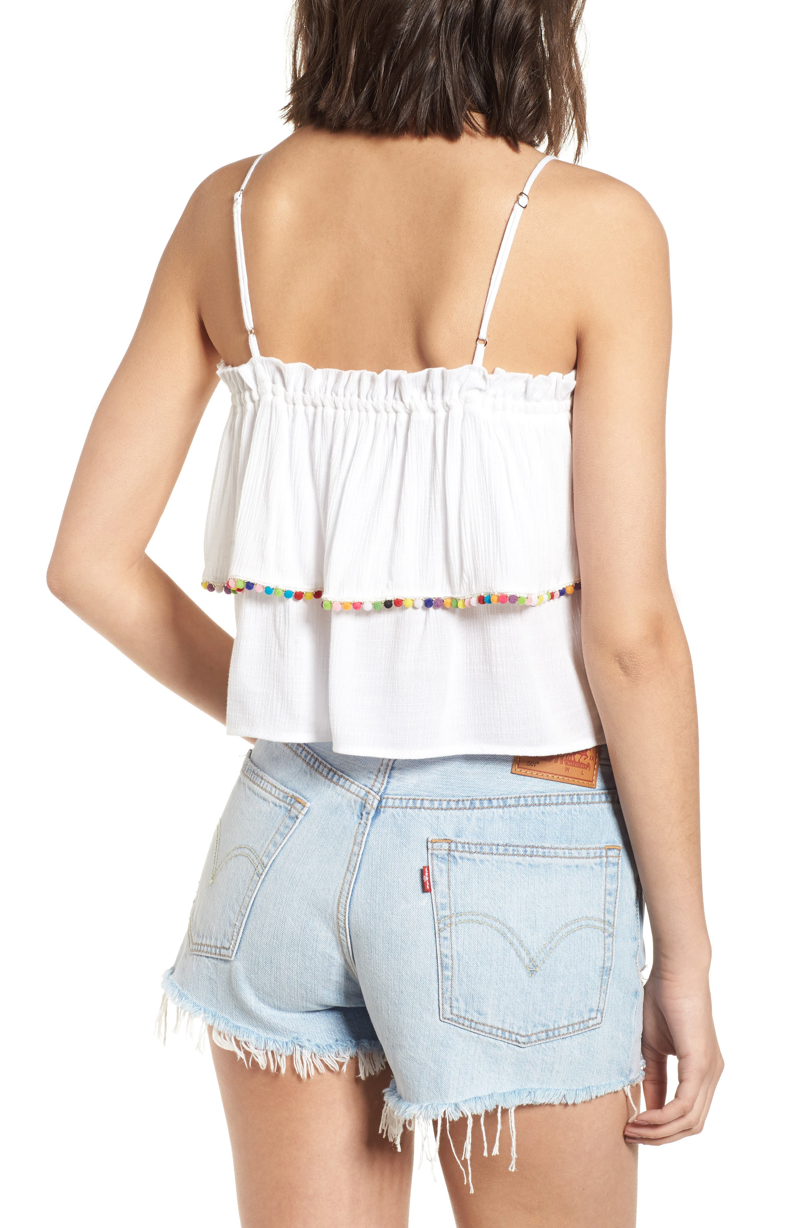Pompom Trim Ruffle Top,                             Alternate thumbnail 2, color,                             White