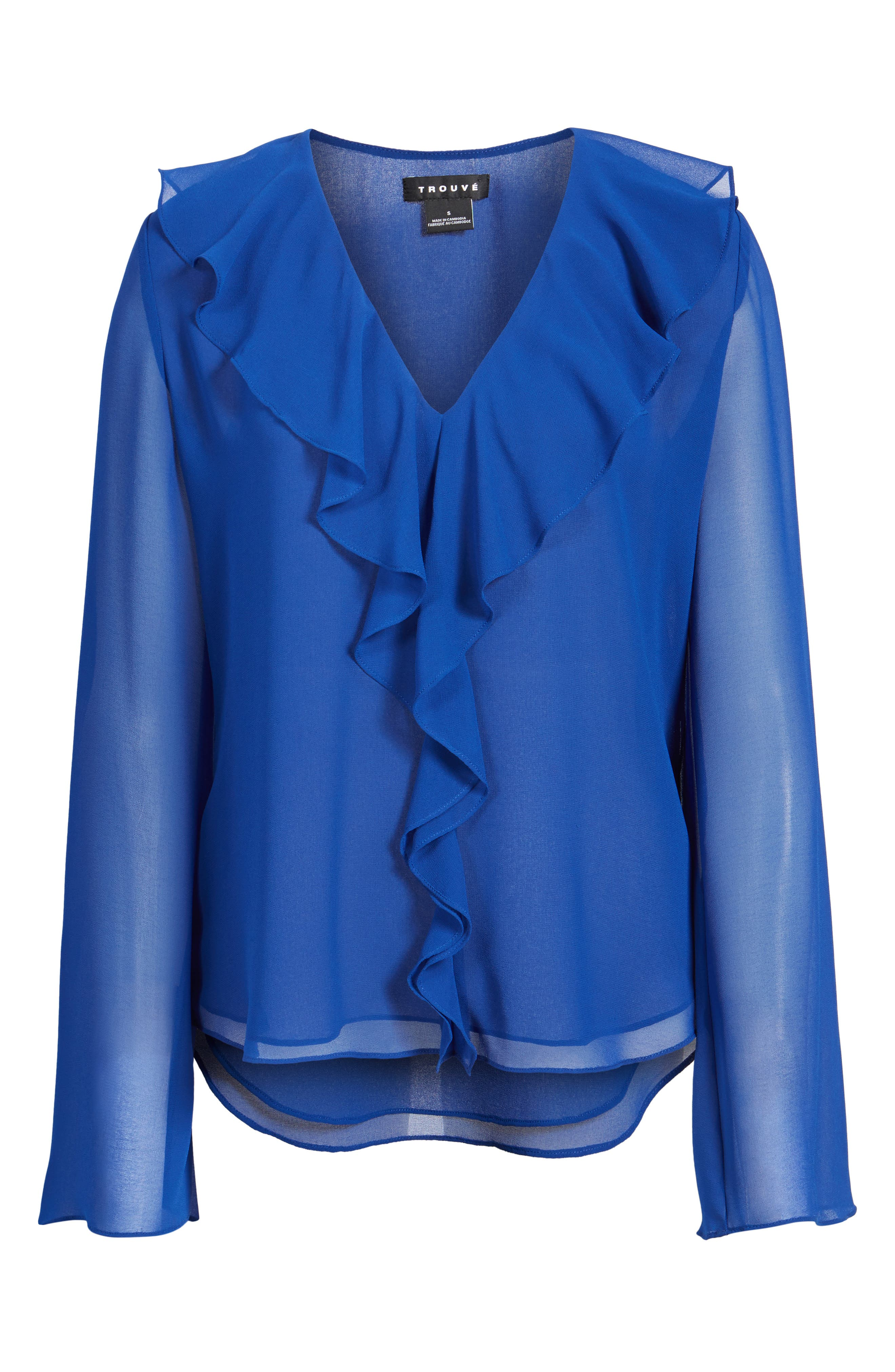 Ruffle V-Neck Blouse,                             Alternate thumbnail 6, color,                             Blue Mazarine