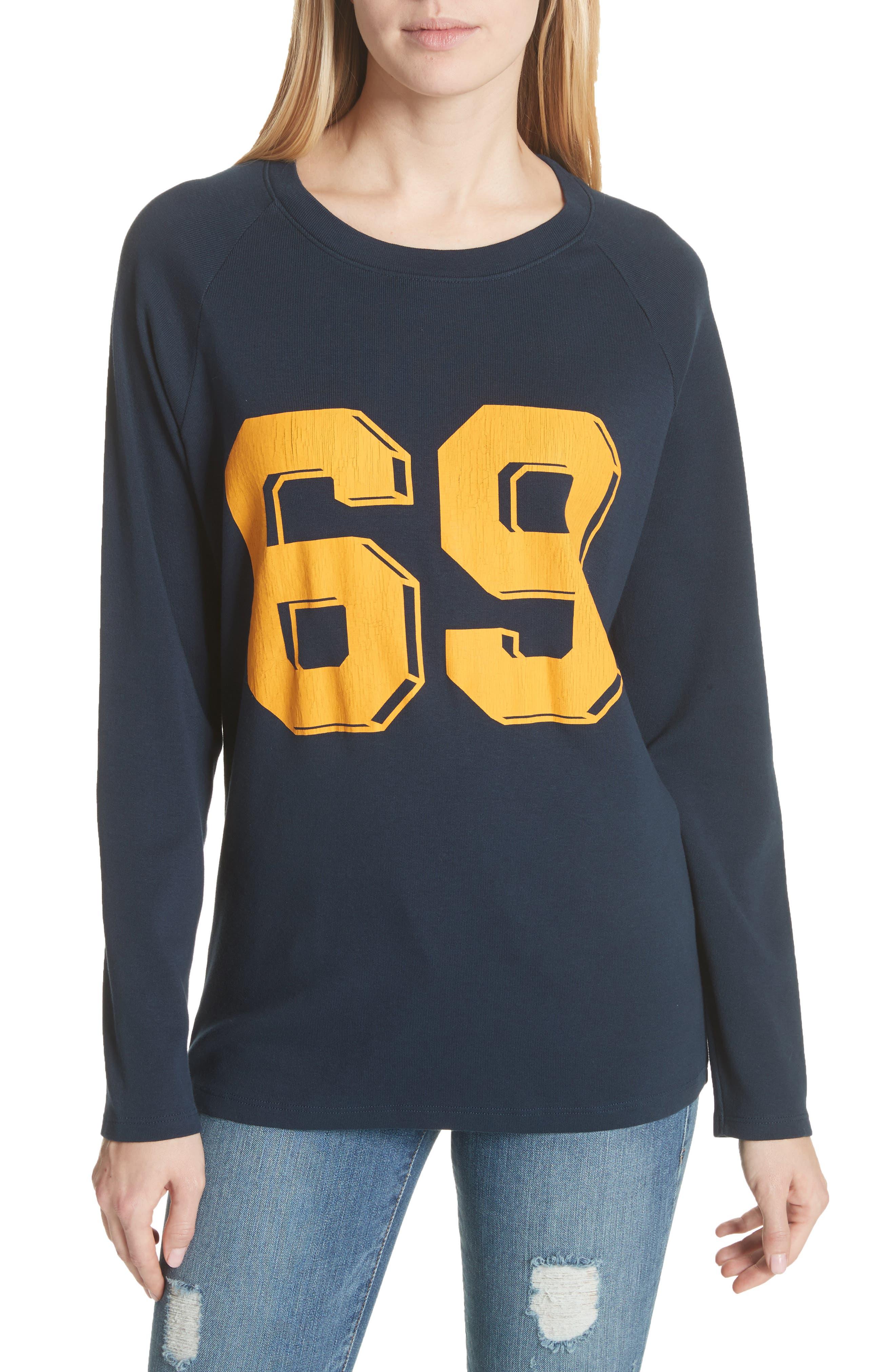 Collegiate Raglan Sweatshirt,                         Main,                         color, Navy