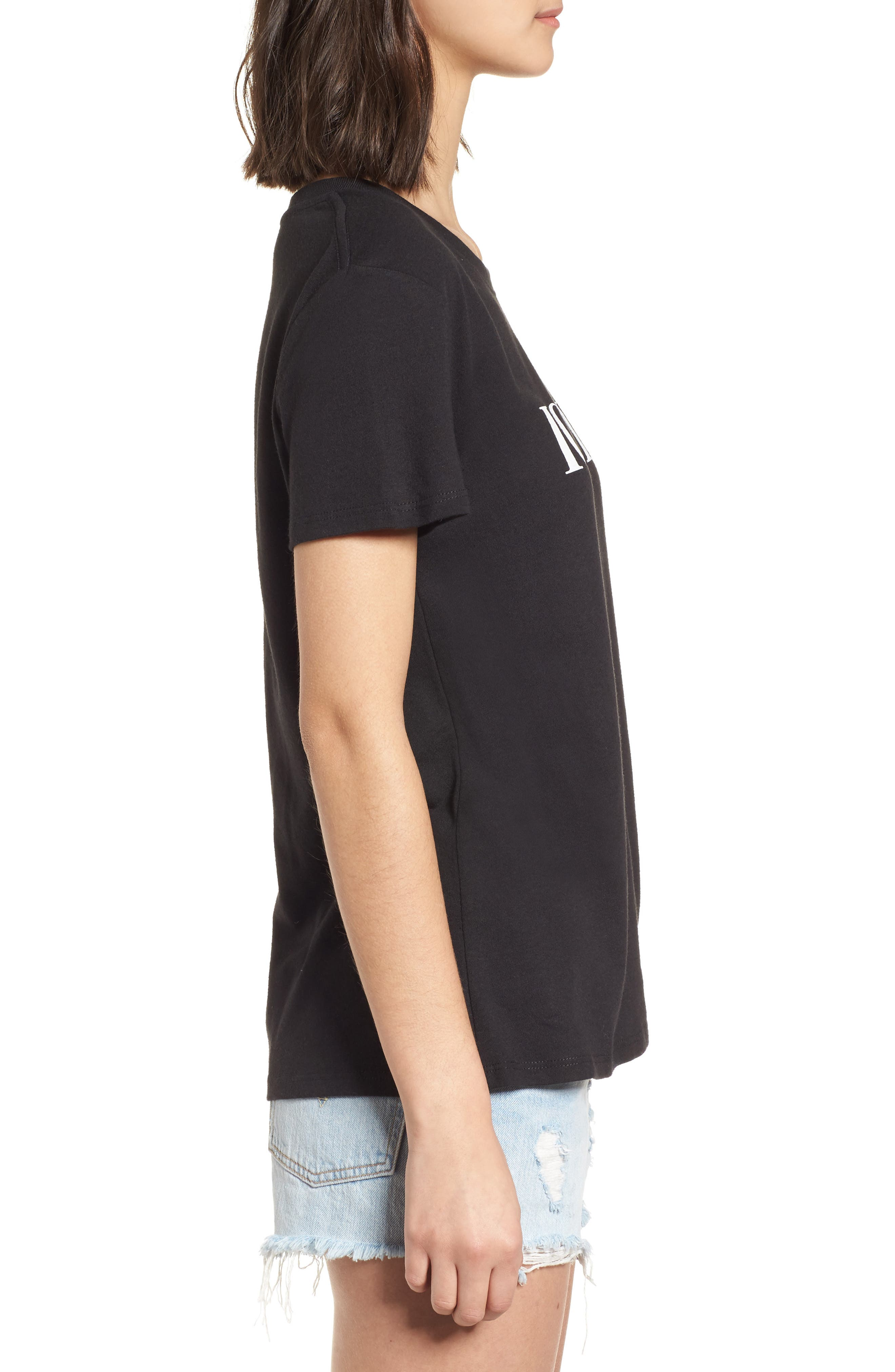 Iconic Slouched Graphic Tee,                             Alternate thumbnail 3, color,                             Black