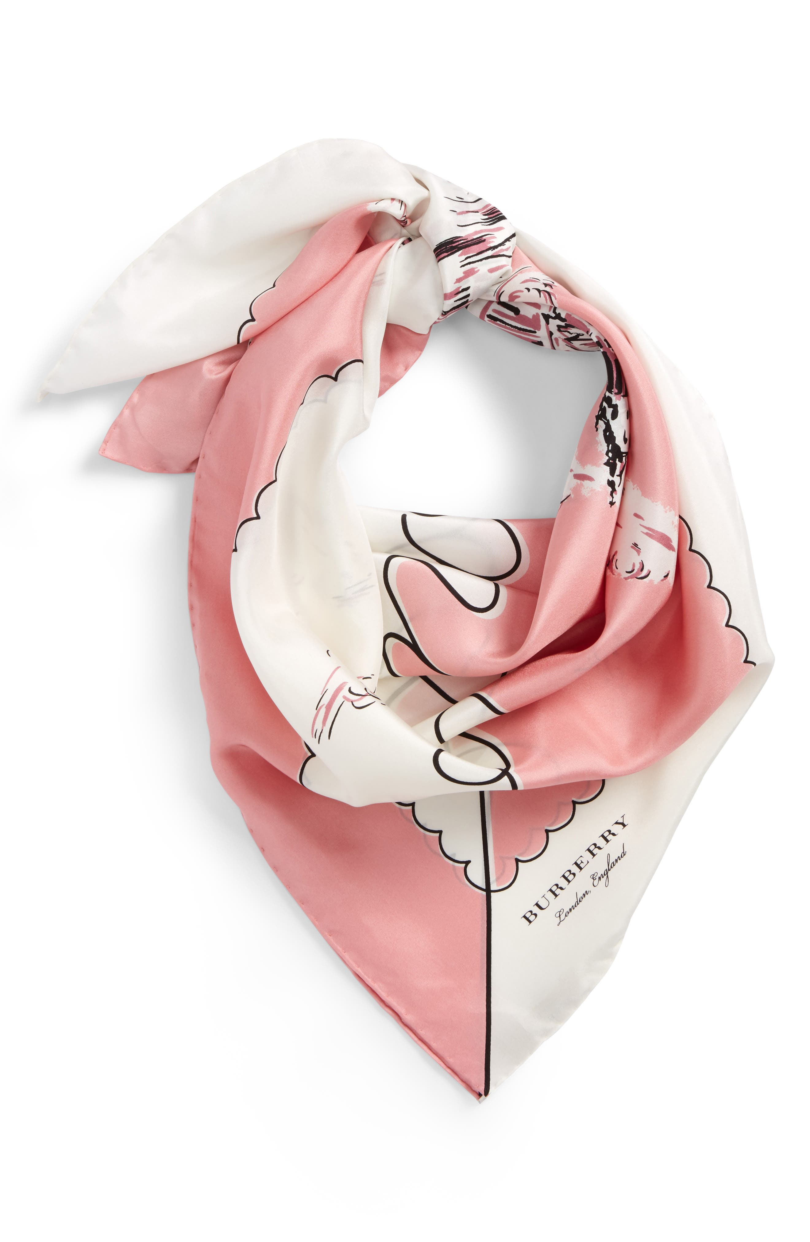 London Landscape Silk Square Scarf,                             Alternate thumbnail 2, color,                             Rose Pink