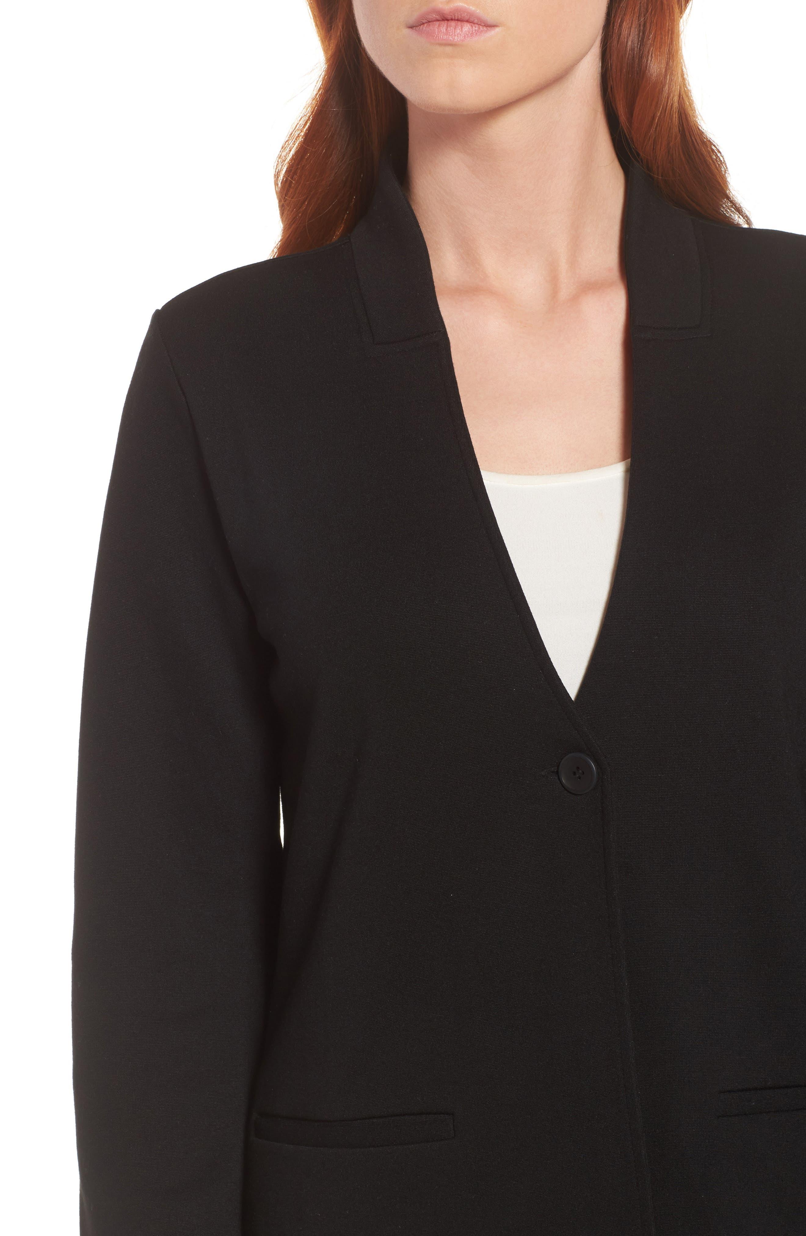 Tencel<sup>®</sup> Lyocell Blend Knit Blazer,                             Alternate thumbnail 4, color,                             Black
