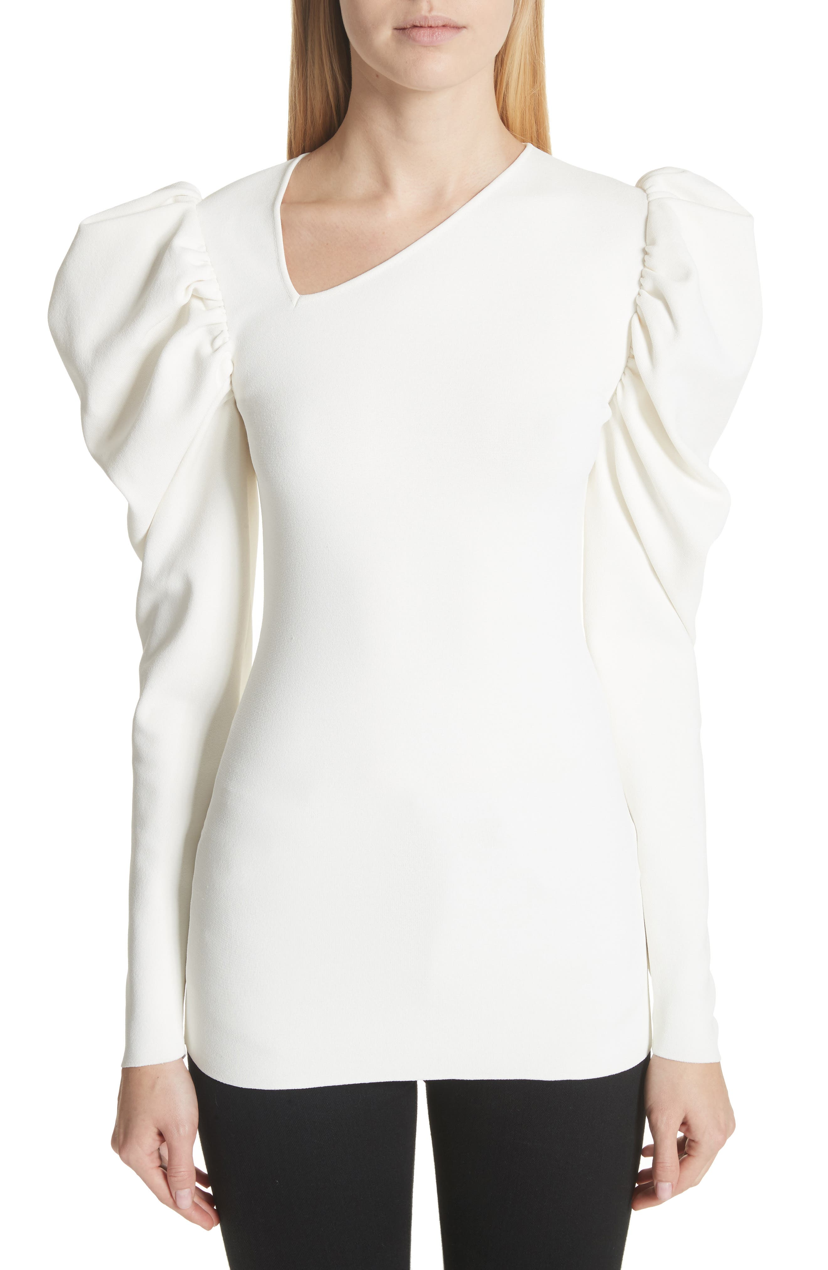 Stella McCartney Puff Sleeve Asymmetrical Neck Top