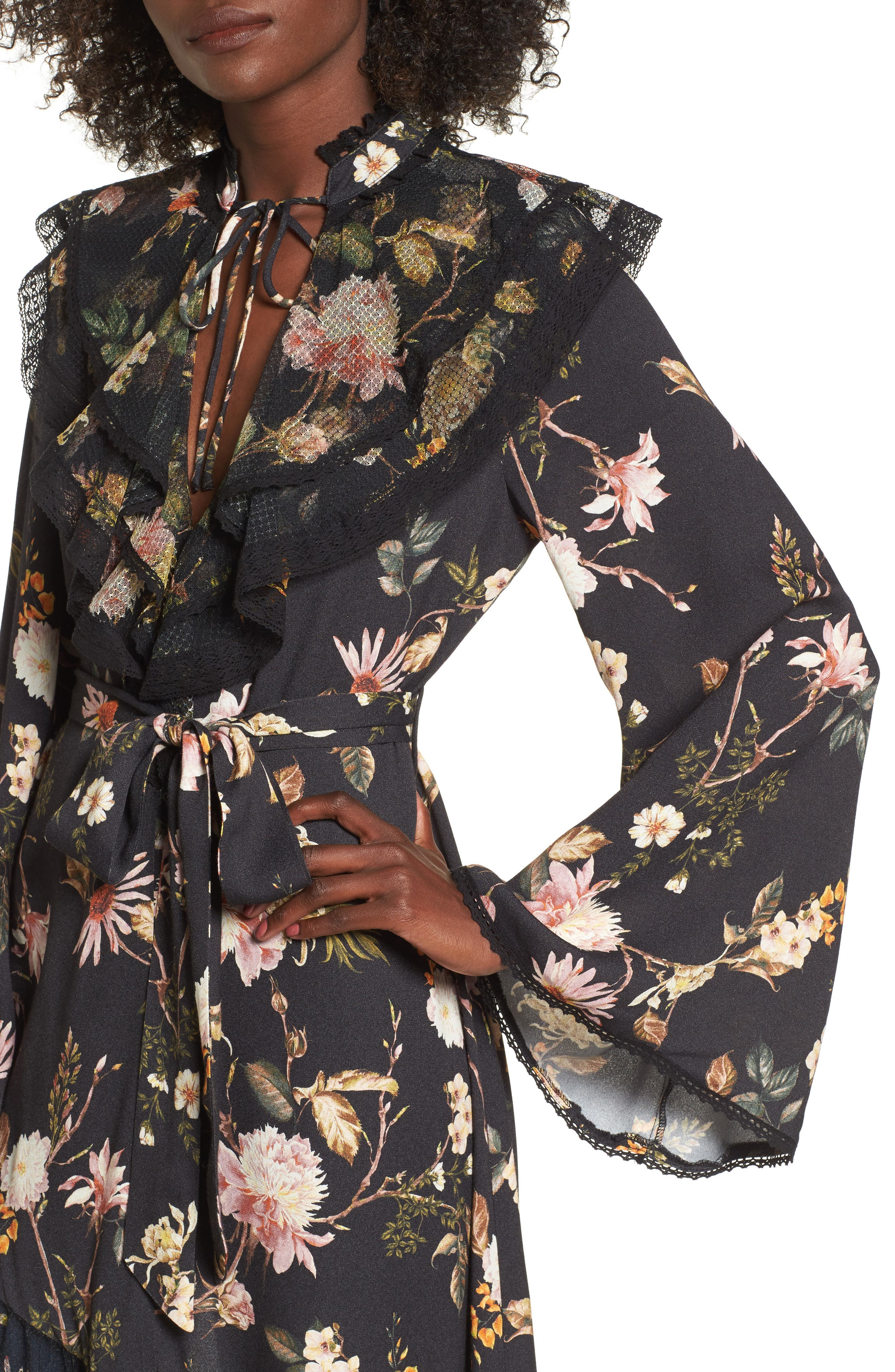 Ray Asymmetrical Midi Dress,                             Alternate thumbnail 5, color,                             Noir Floral