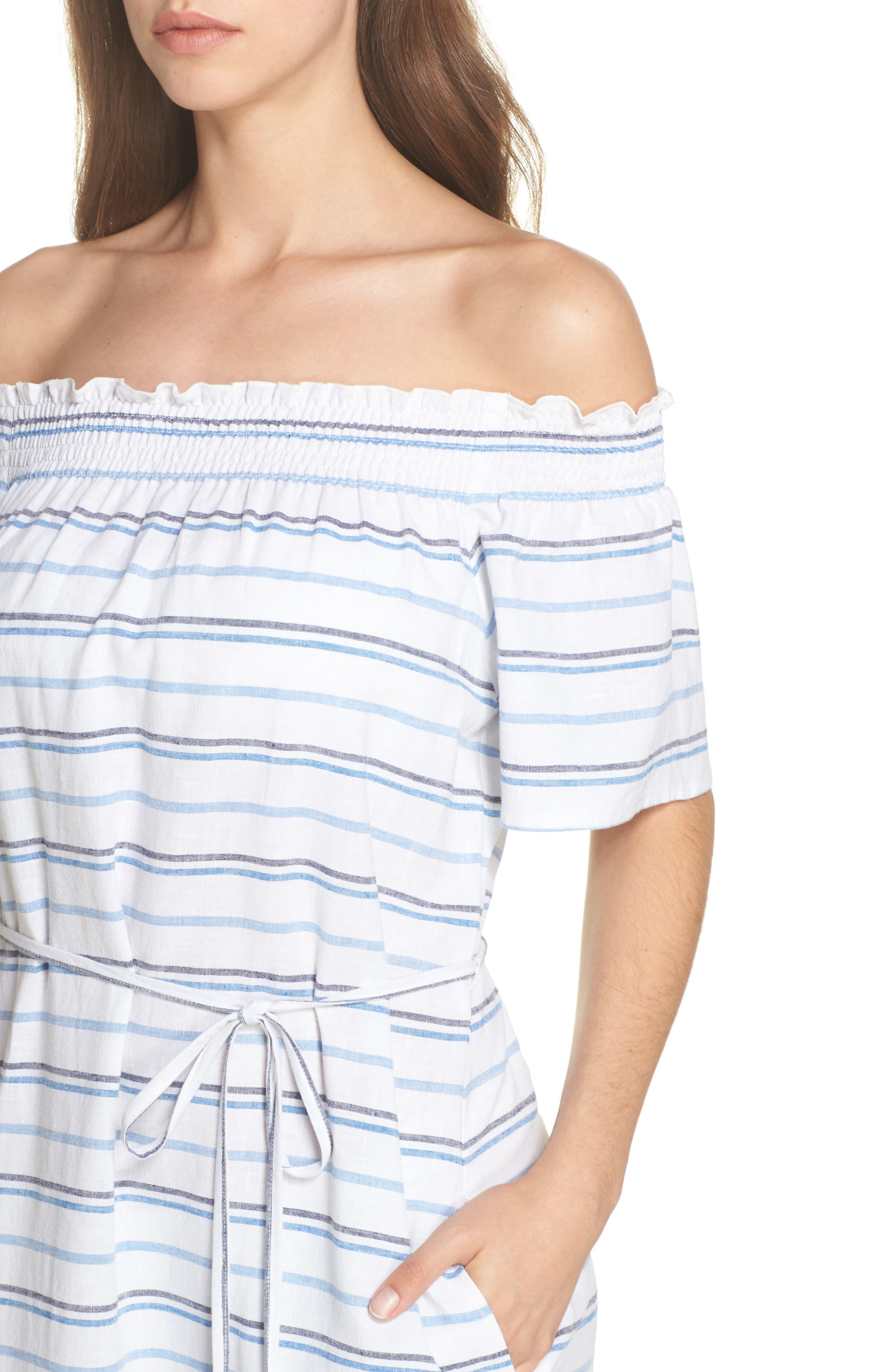 Stripe Linen & Cotton Off the Shoulder Cover-Up Dress,                             Alternate thumbnail 4, color,                             White