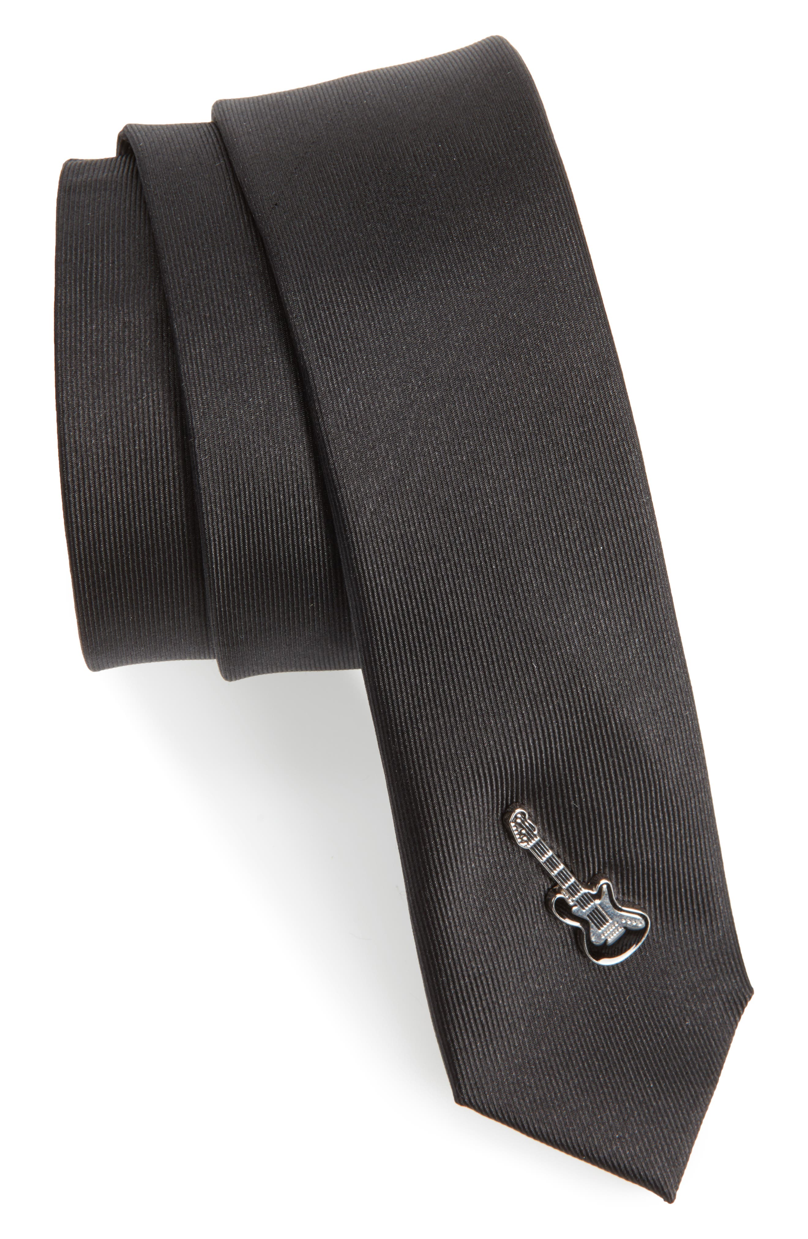 Guitar Silk Skinny Tie,                             Main thumbnail 1, color,                             Black