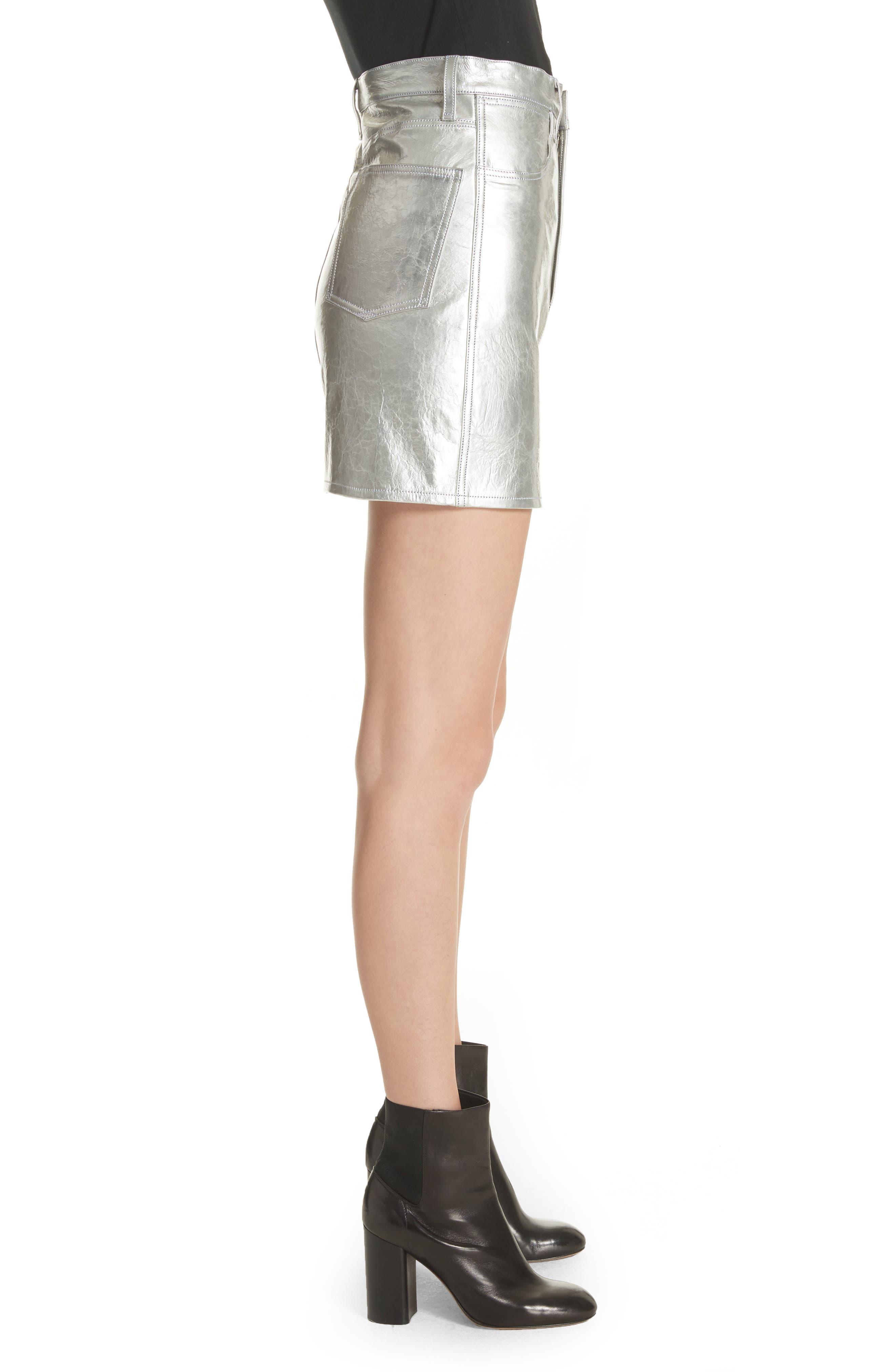 Moss High Waist Leather Miniskirt,                             Alternate thumbnail 3, color,                             Metallic