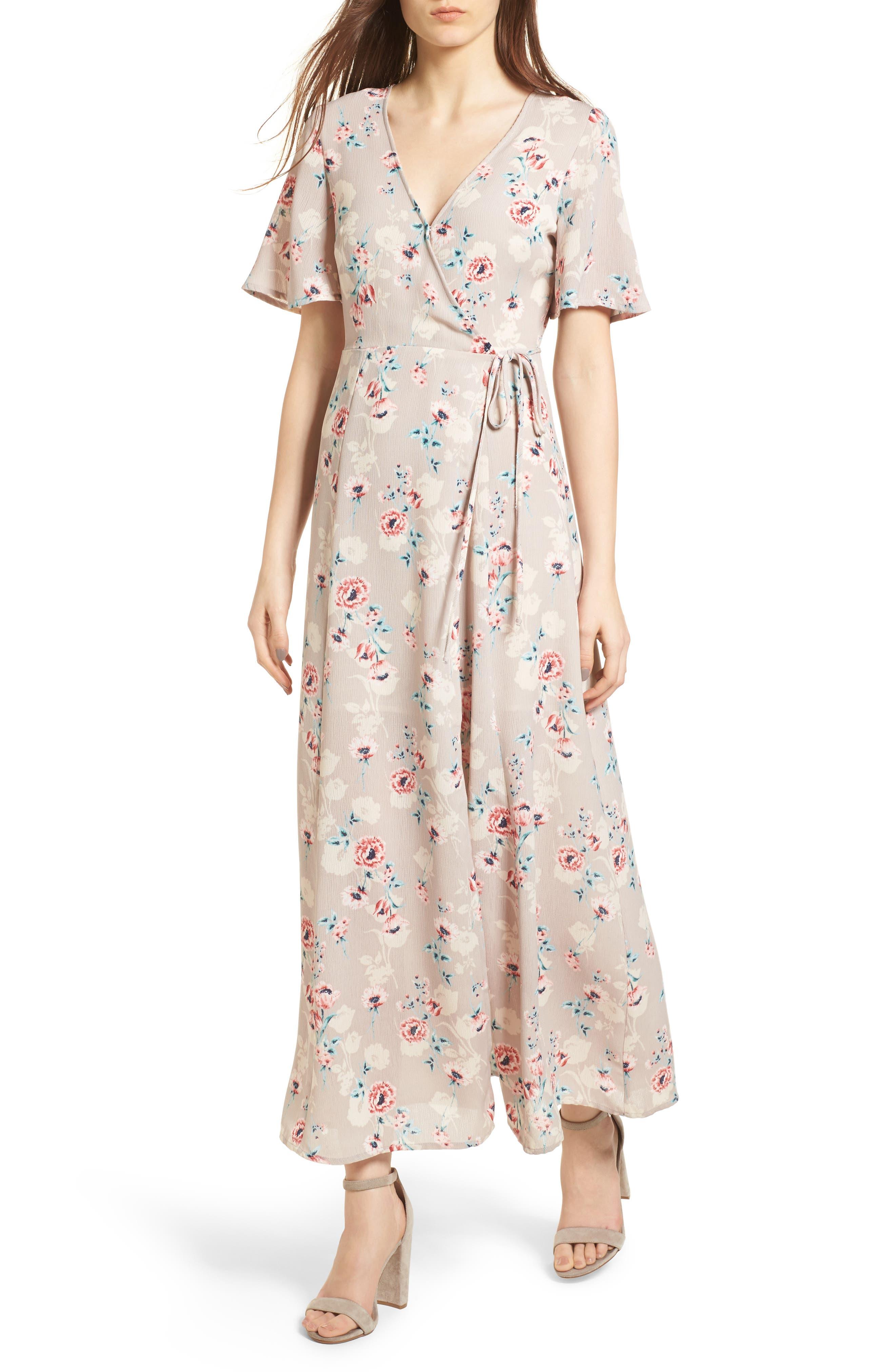 Floral Print Wrap Maxi Dress,                         Main,                         color, Taupe-Rose Floral
