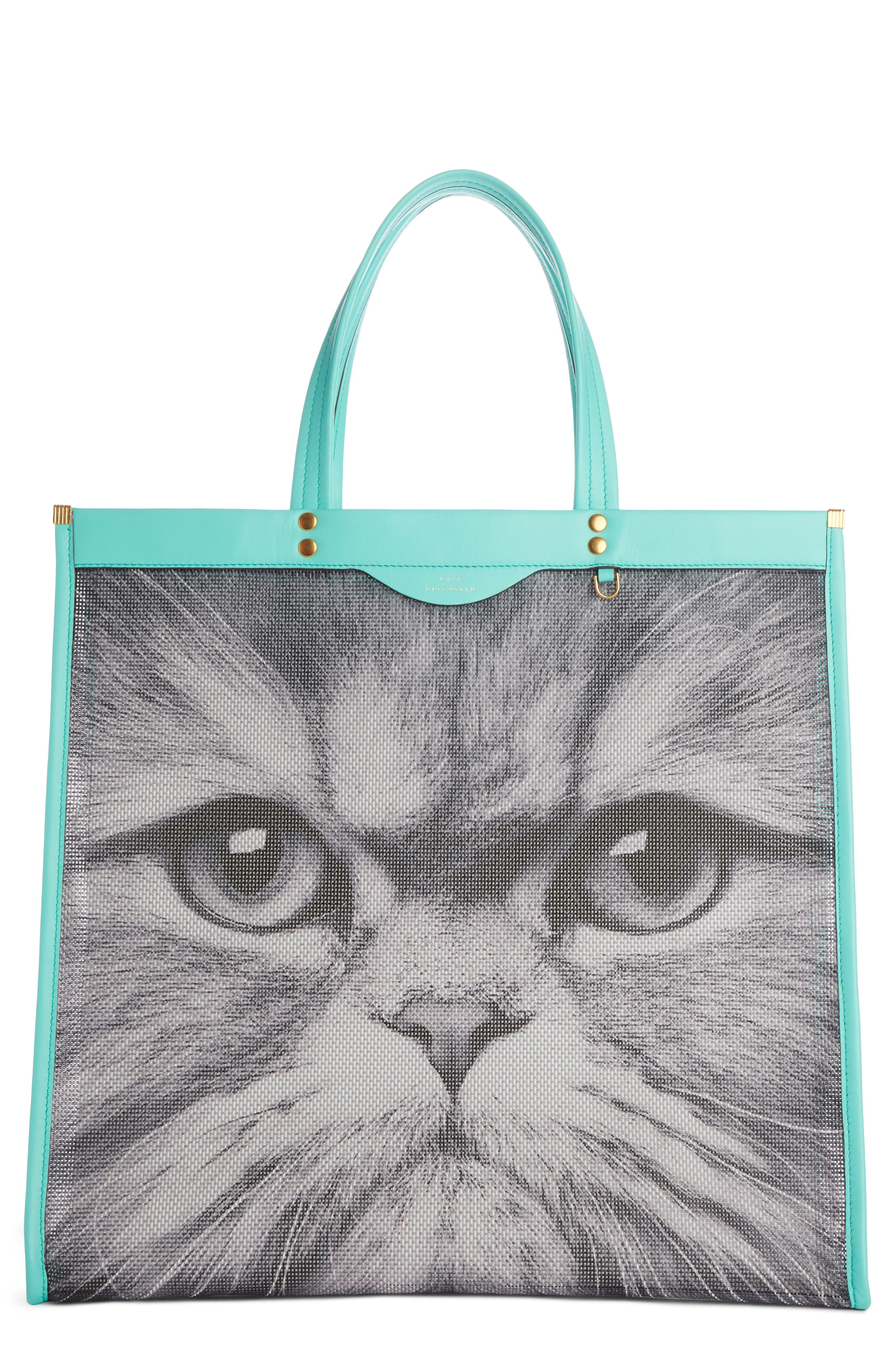 Kitsch Cat Mesh Tote,                         Main,                         color, Chalk