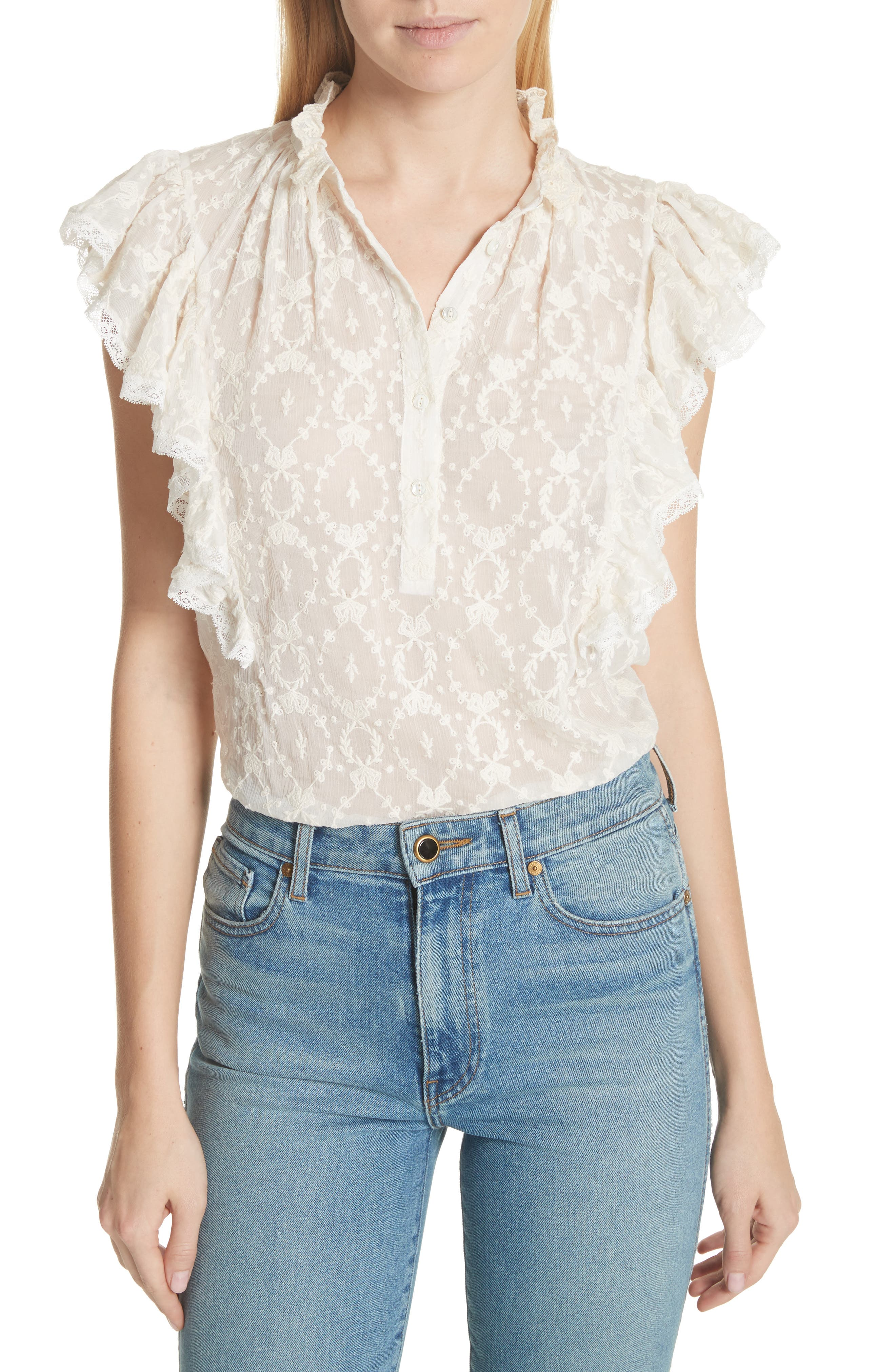 Lily Ruffle Embroidered Silk Top,                         Main,                         color, Snow
