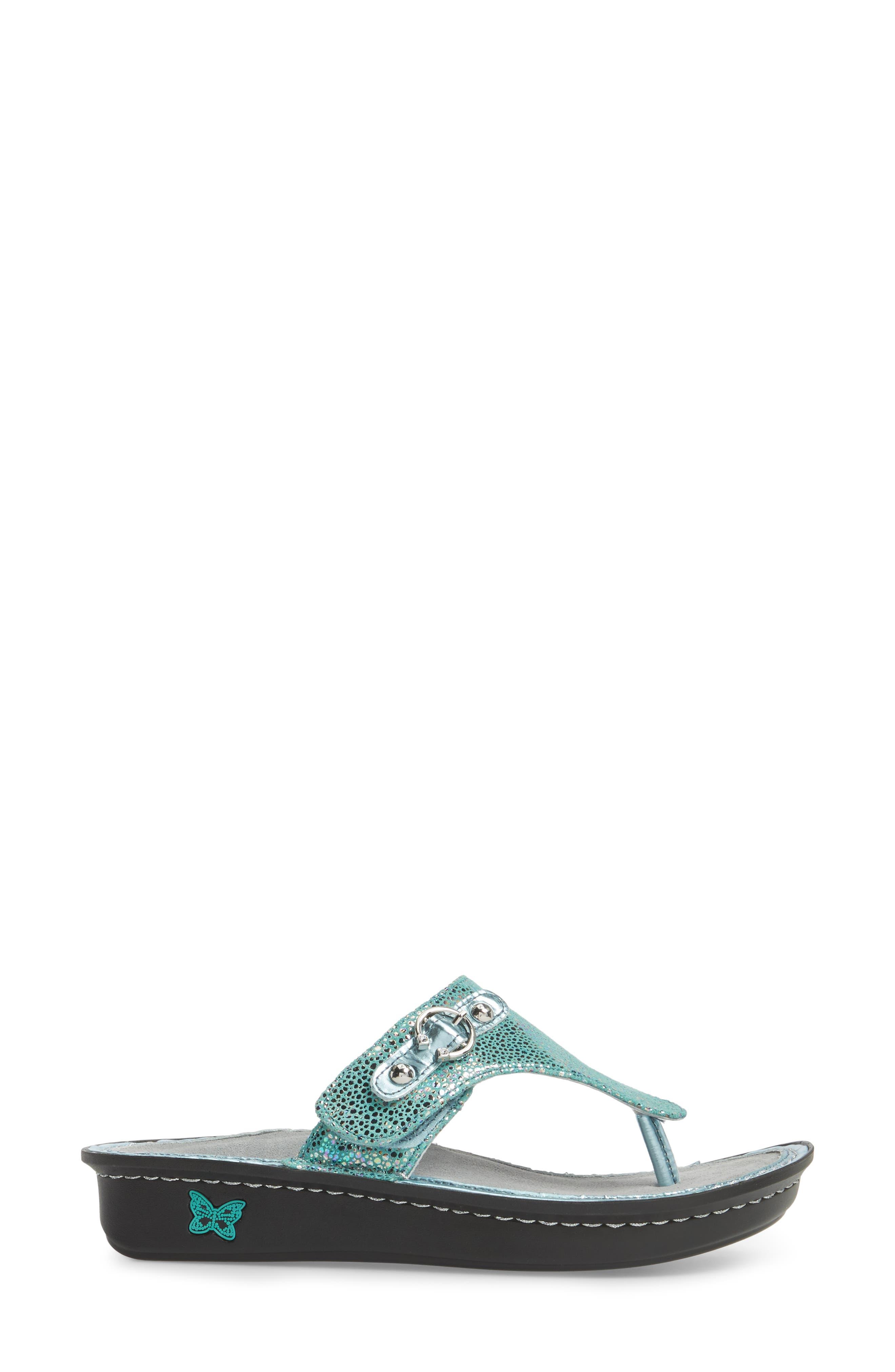 'Vanessa' Thong Sandal,                             Alternate thumbnail 3, color,                             Aqua Love Leather