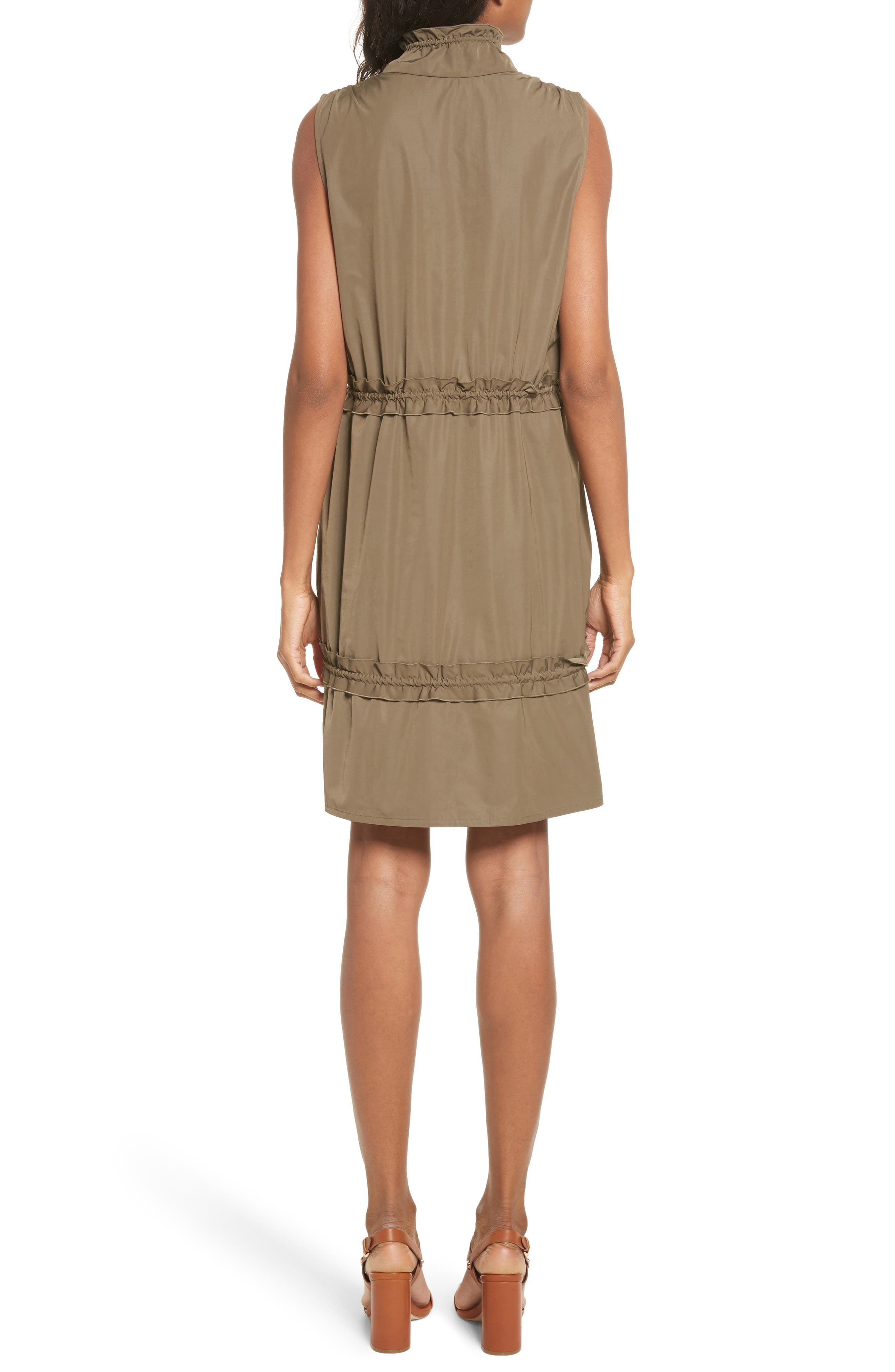 Cinch Waist Army Dress,                             Alternate thumbnail 2, color,                             Cacao Brown