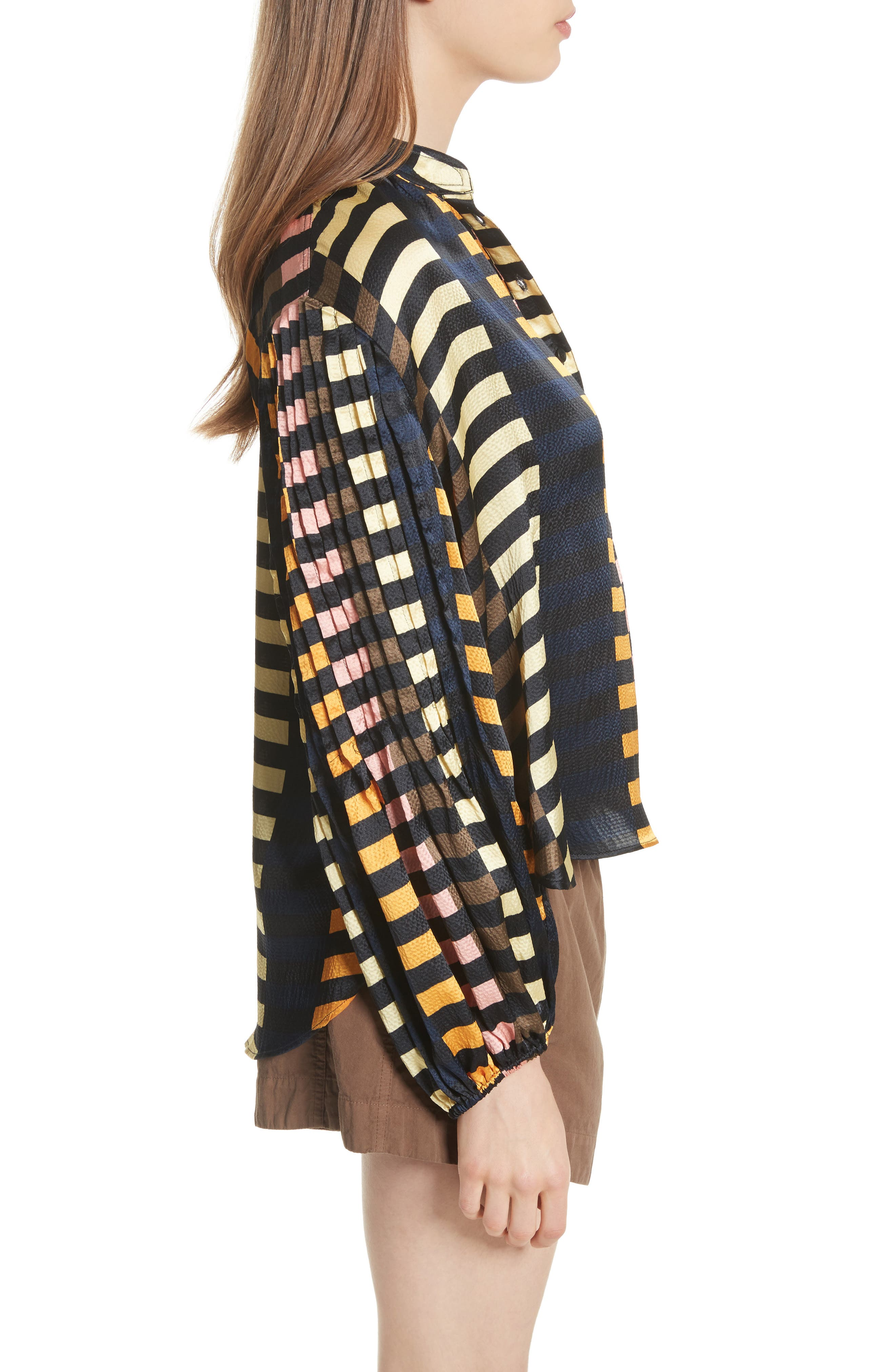 Nuevo Bravo Stripe Silk Top,                             Alternate thumbnail 3, color,                             Majorelle Print
