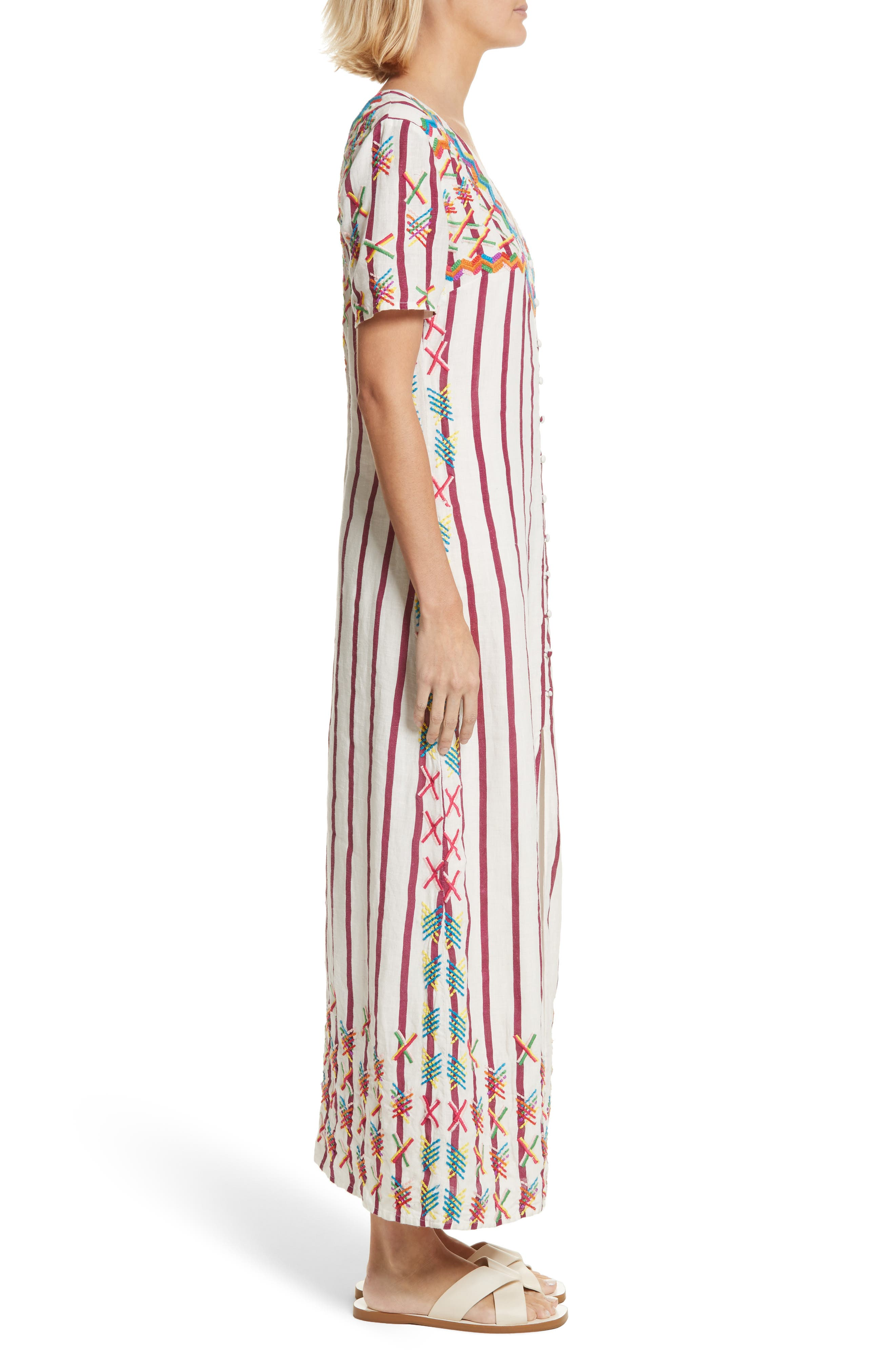 Maria Embroidered Maxi Dress,                             Alternate thumbnail 3, color,                             Off White/ Burgundy
