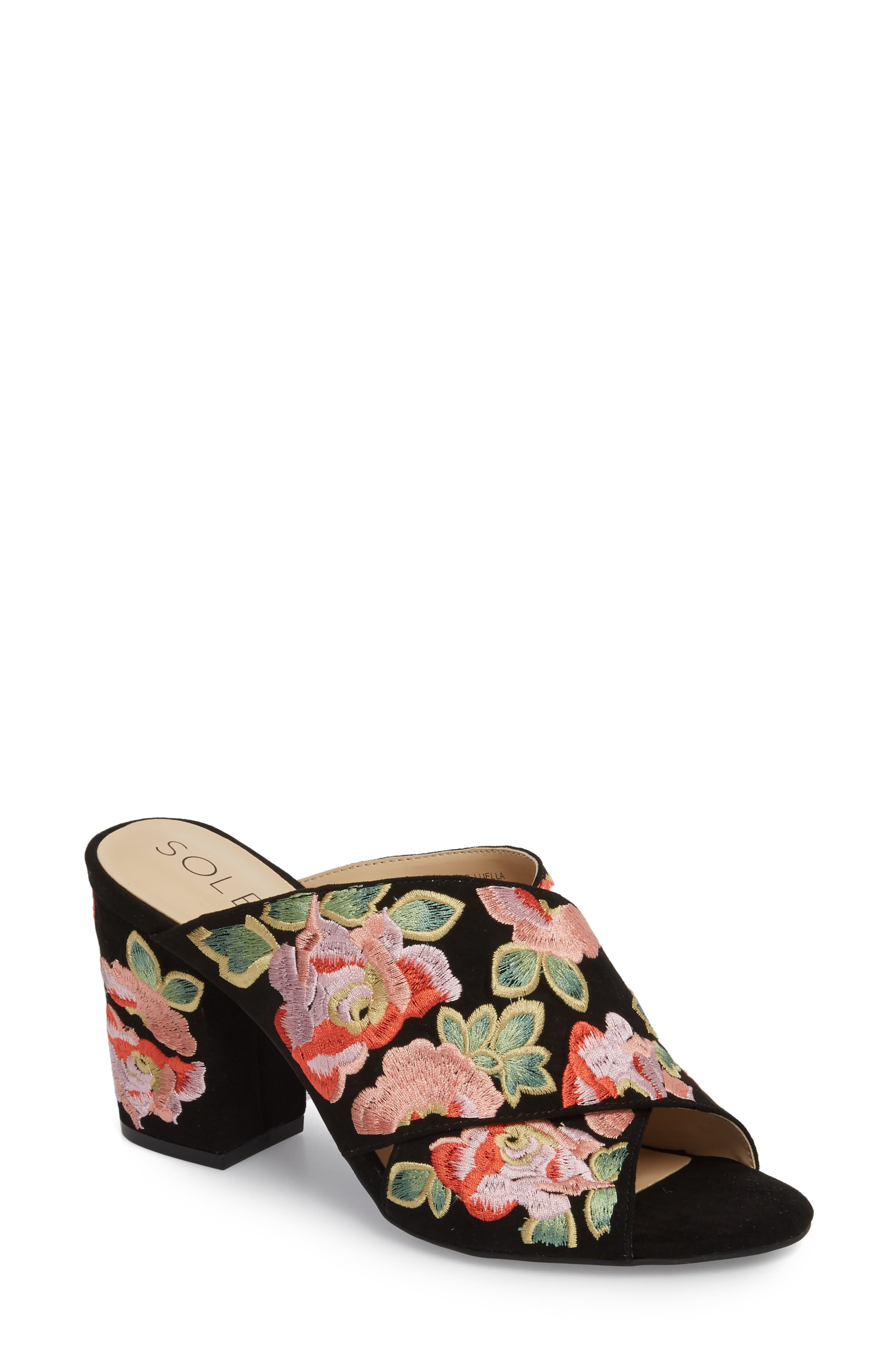 Luella Flower Embroidered Slide,                             Main thumbnail 1, color,                             Black/ Coral Multi Embroidery
