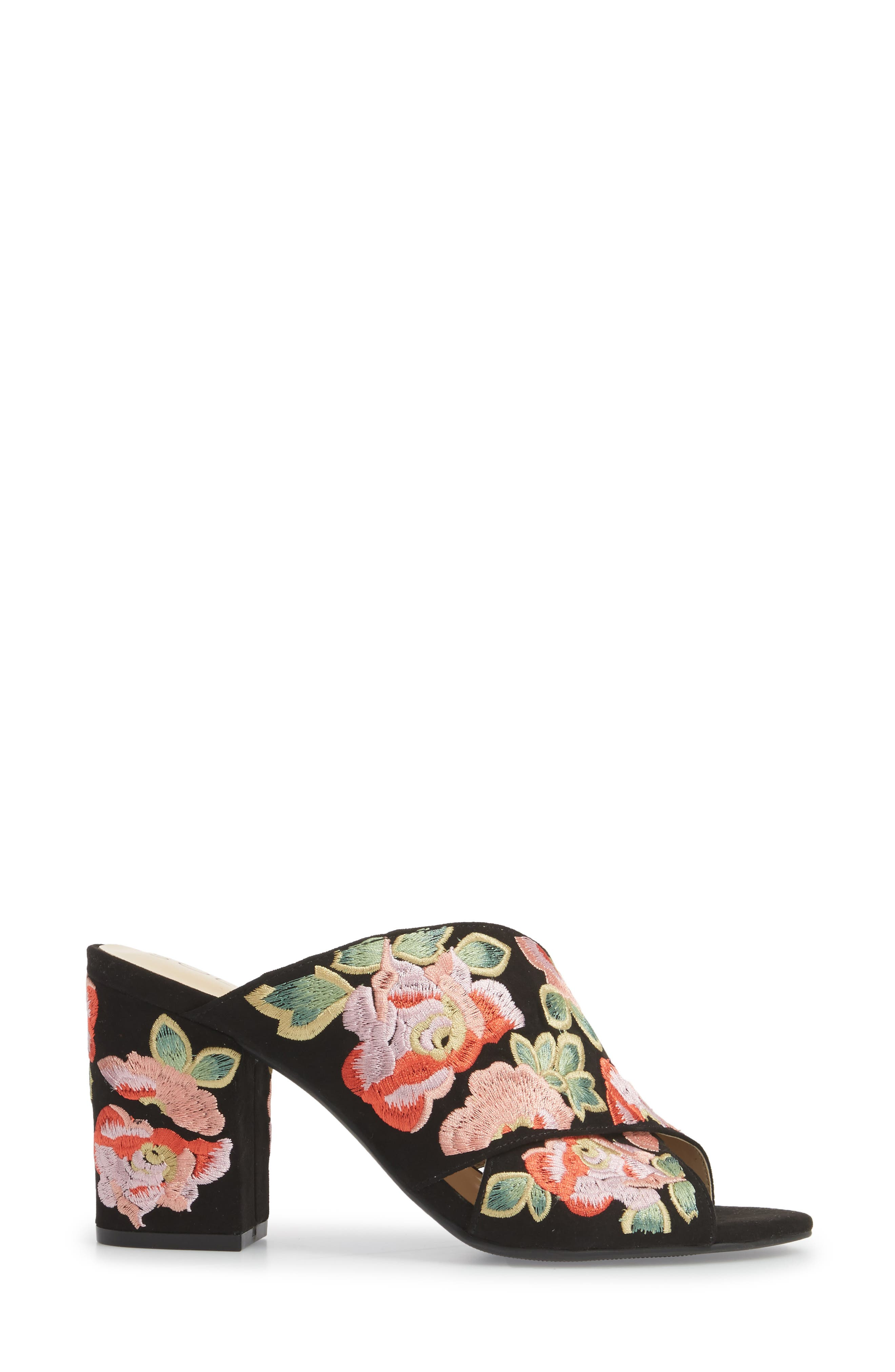 Luella Flower Embroidered Slide,                             Alternate thumbnail 3, color,                             Black/ Coral Multi Embroidery