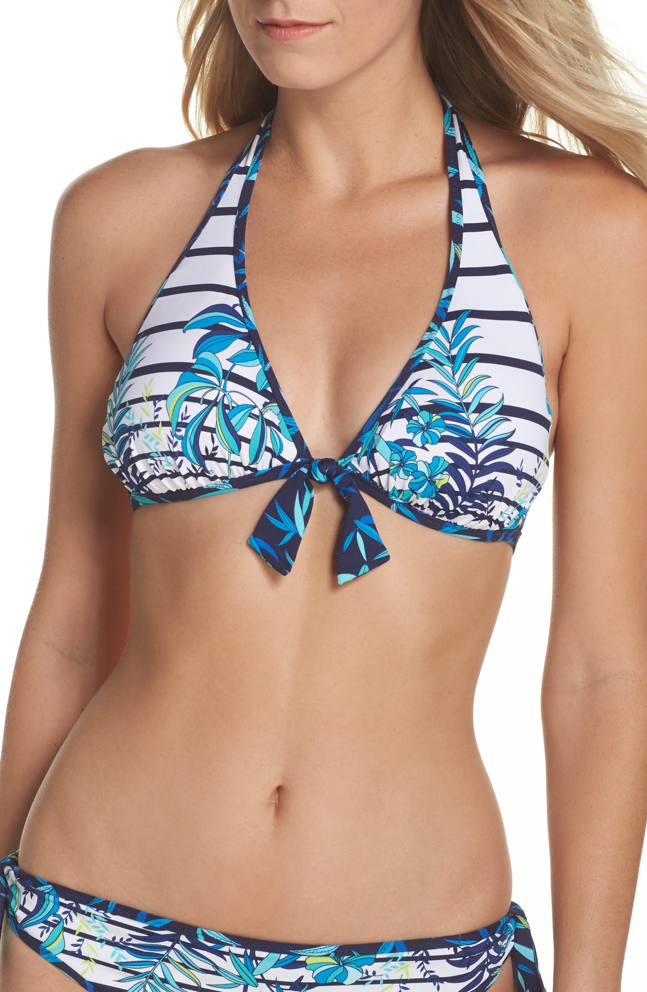 Tropical Swirl Reversible Halter Bikini Top,                             Main thumbnail 1, color,                             Blue/ White