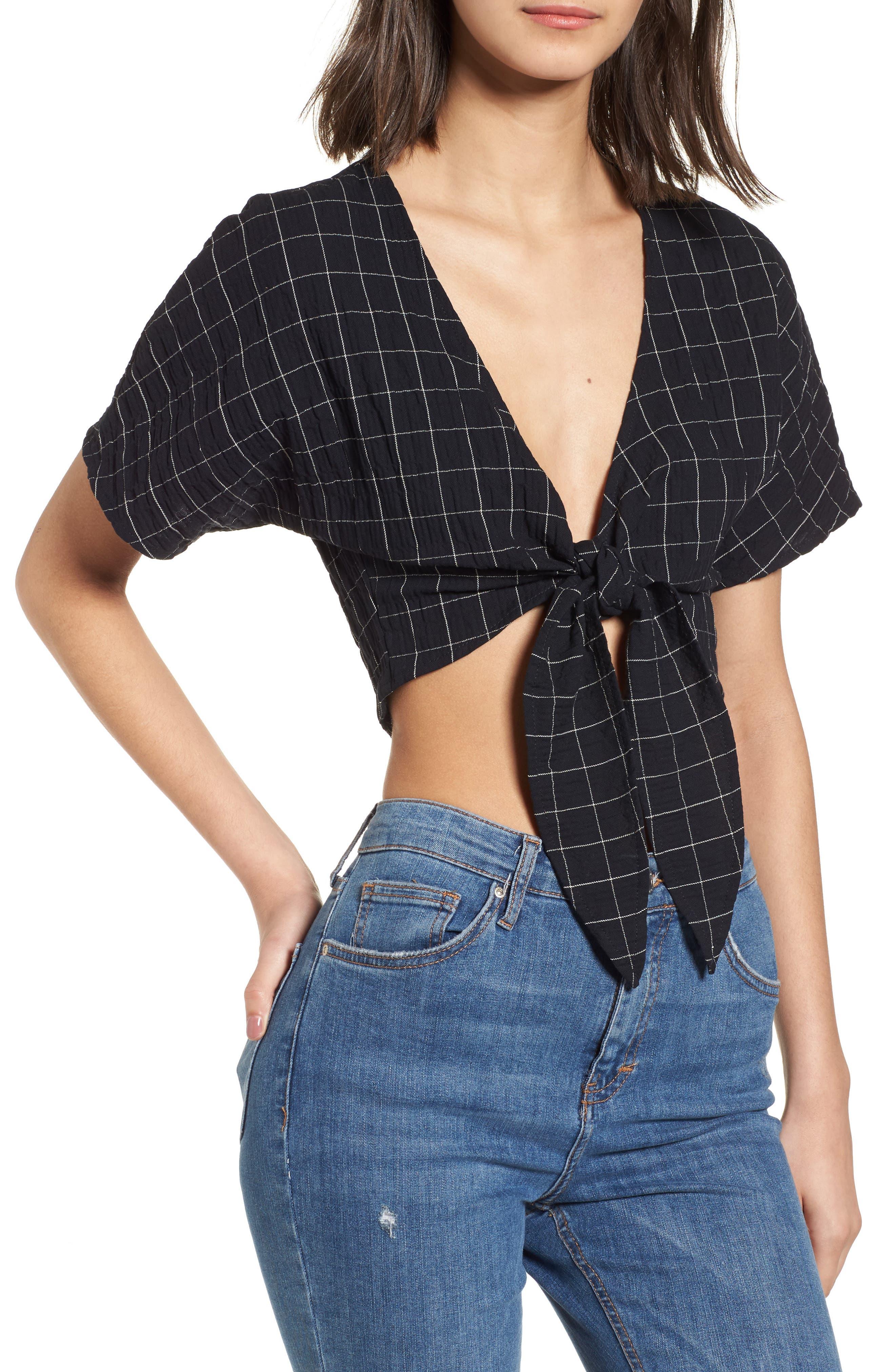 Tie Front Crop Top,                         Main,                         color, Black