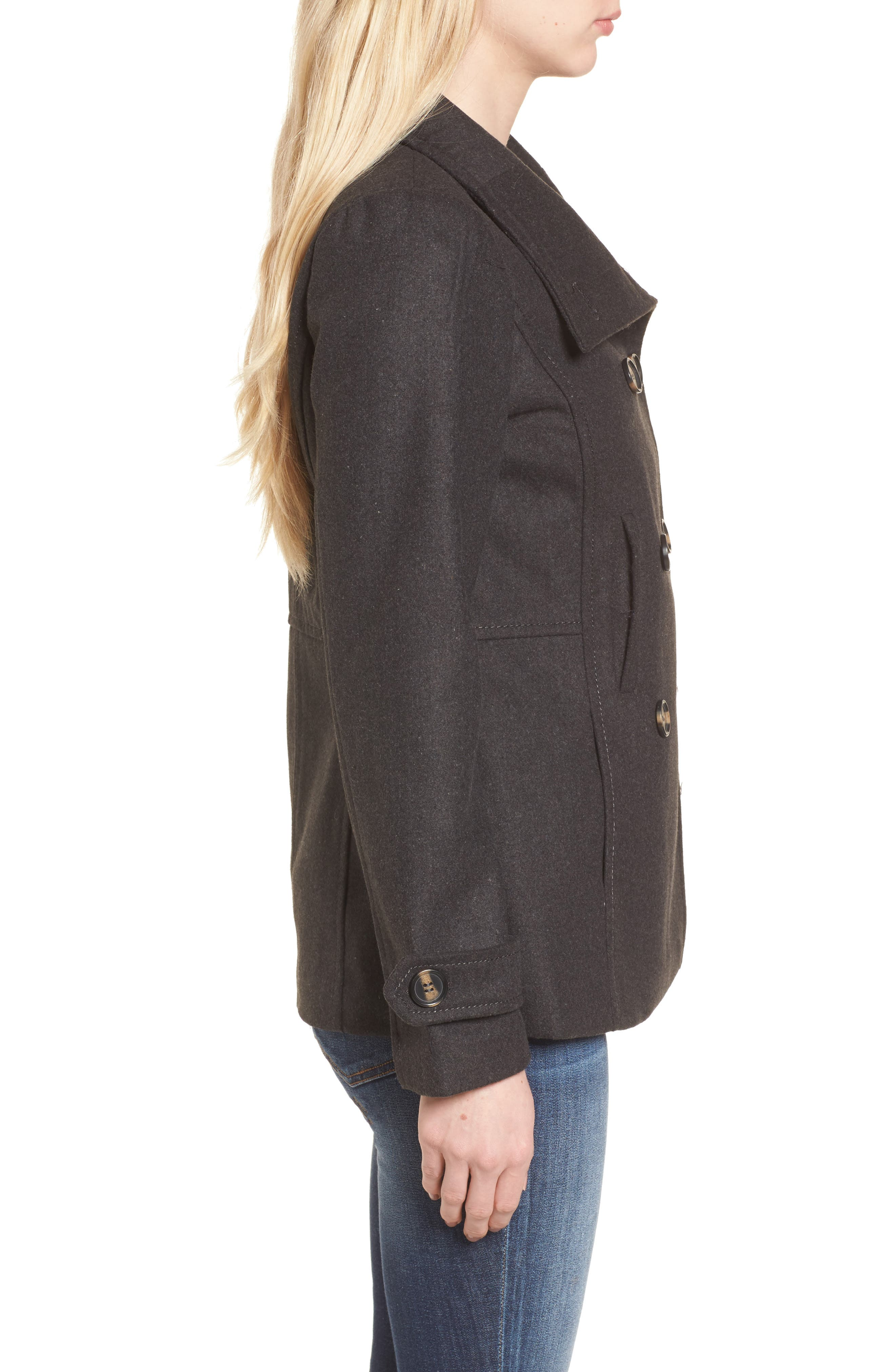 Double Breasted Peacoat,                             Alternate thumbnail 3, color,                             Charcoal