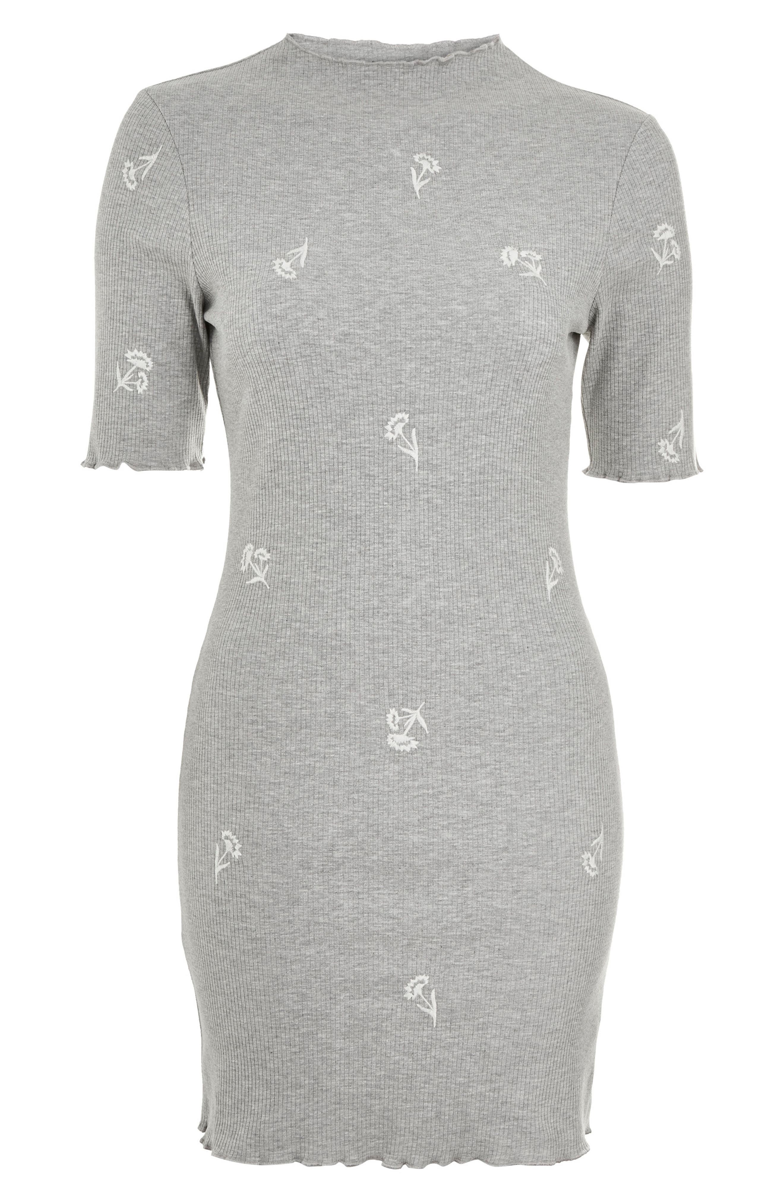Embroidered Ribbed Body-Con Dress,                             Alternate thumbnail 4, color,                             Grey Marl