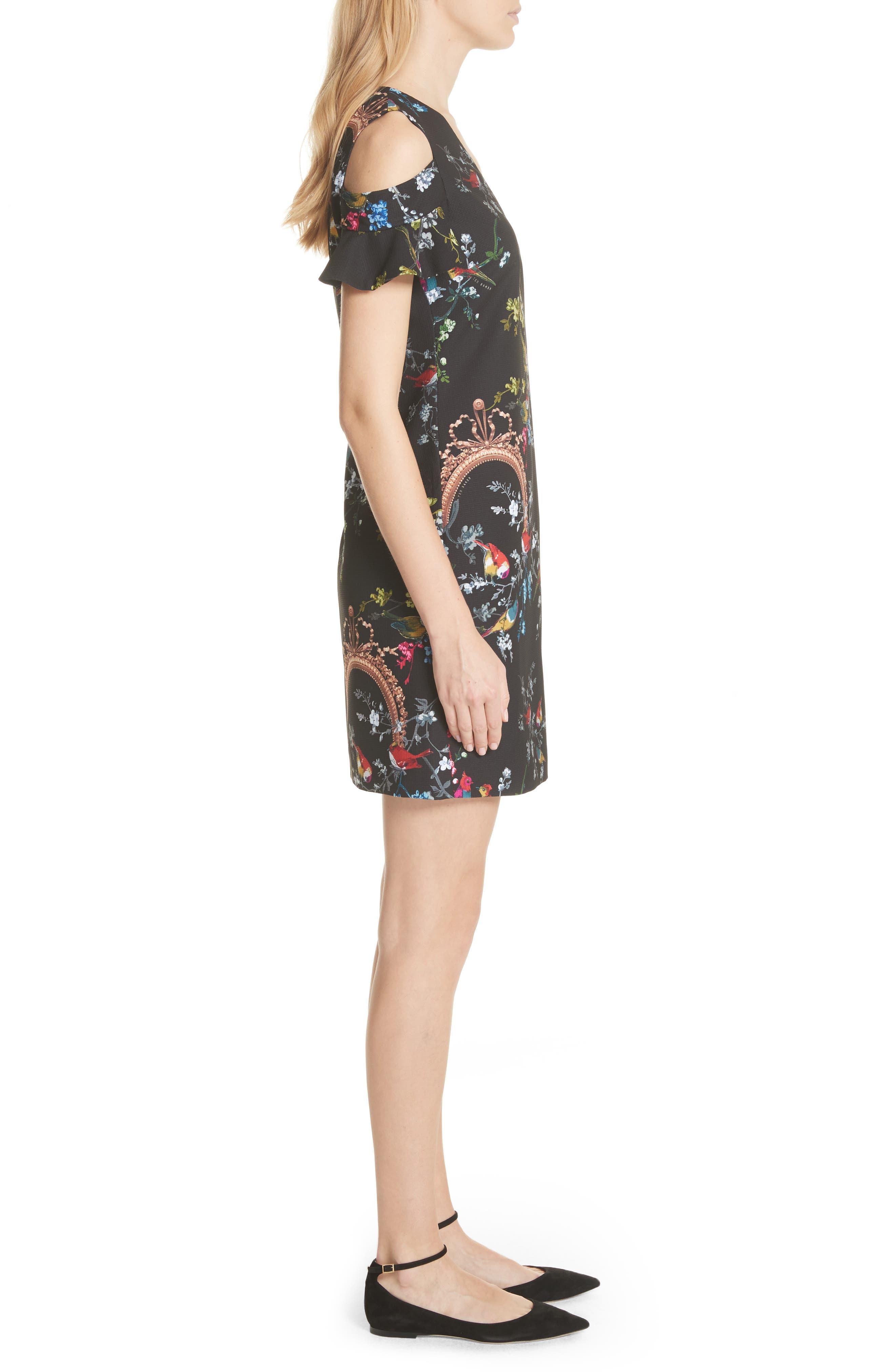 Opulent Fauna Print Cold Shoulder Dress,                             Alternate thumbnail 3, color,                             Black