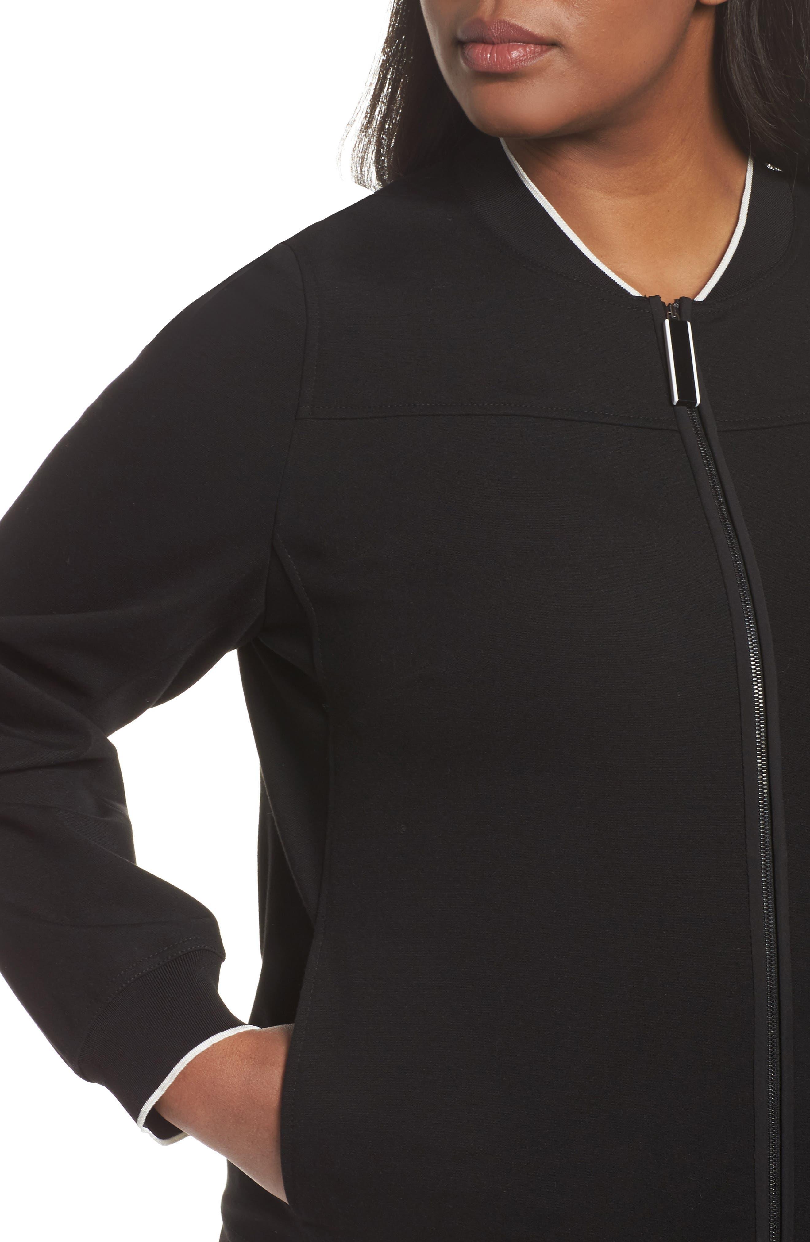 Alison Zip Front Jacket,                             Alternate thumbnail 4, color,                             Black